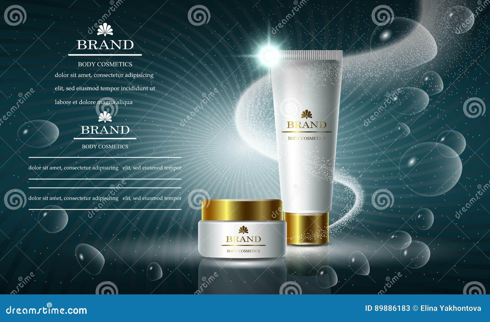 Skönhetsmedelskönhetserie, annonser av högvärdig kroppkräm för hudomsorg Mall för designbaner, vektorillustration