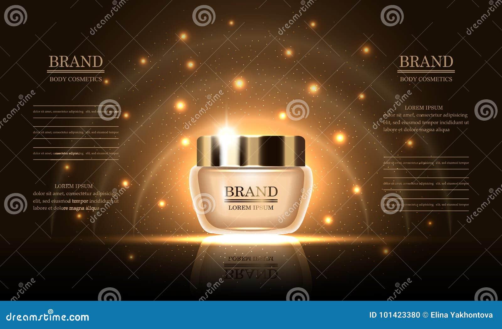 Skönhetsmedelskönhetserie, högvärdig kroppkräm för hudomsorg på guld- bakgrund, modell för designannonser, baner, vektorillustrat