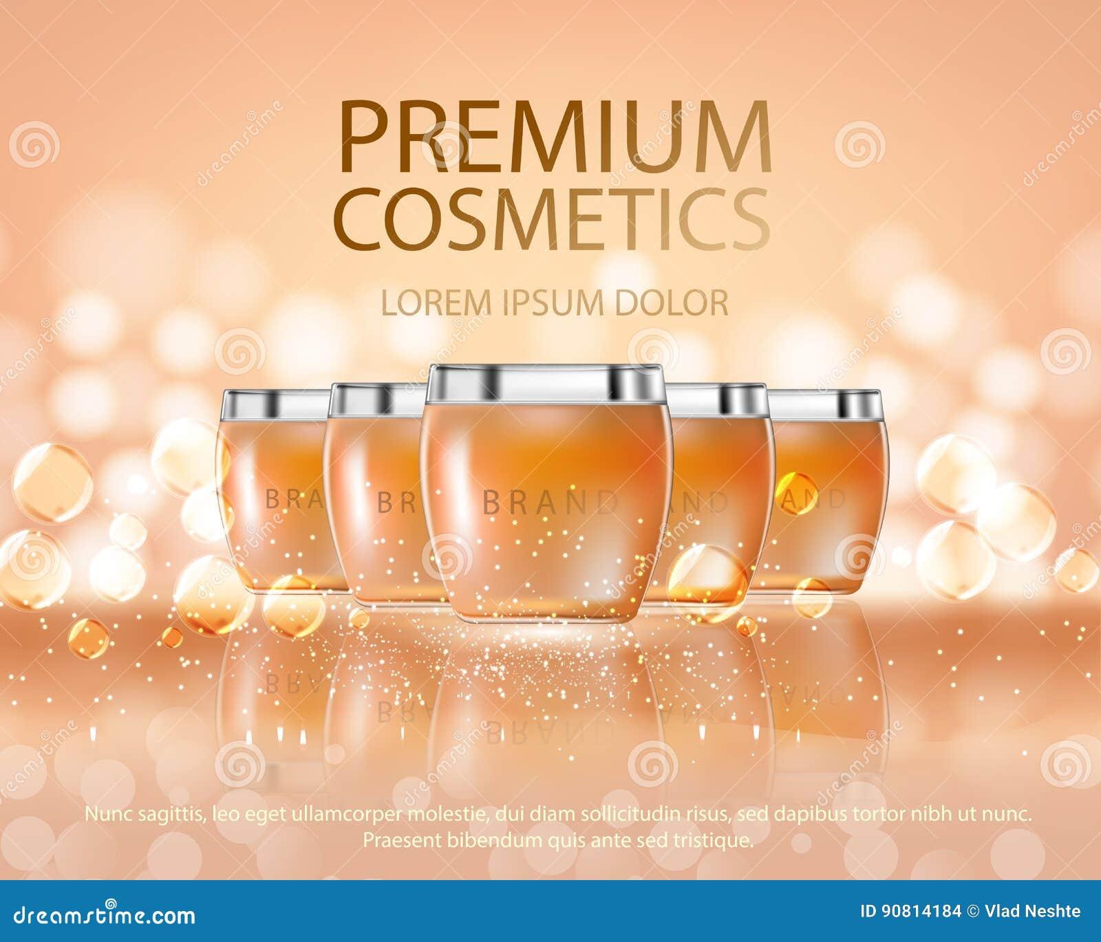 Skönhetsmedelskönhetserier, annonser av högvärdig kroppsprej lagar mat med grädde för hudomsorg Mall för designaffischen, plakat
