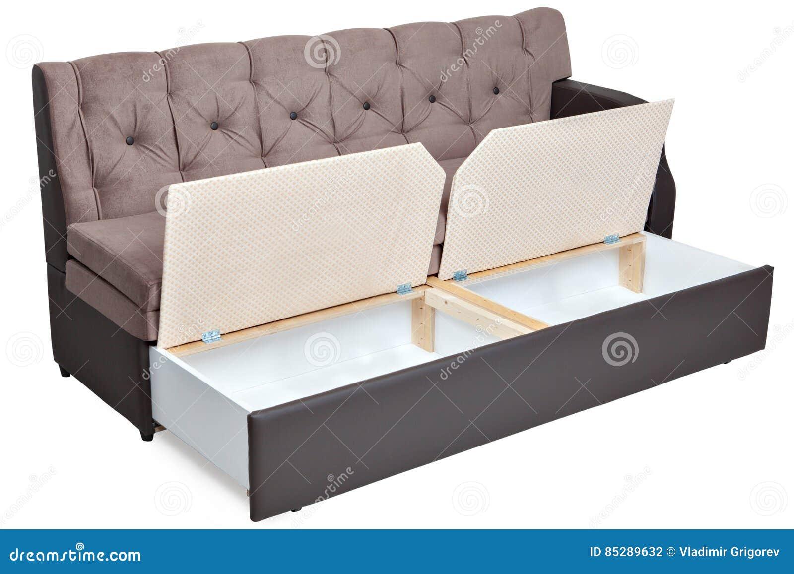 Składać Jasnobrązowego Tkaniny Kanapy łóżko Z Magazynem