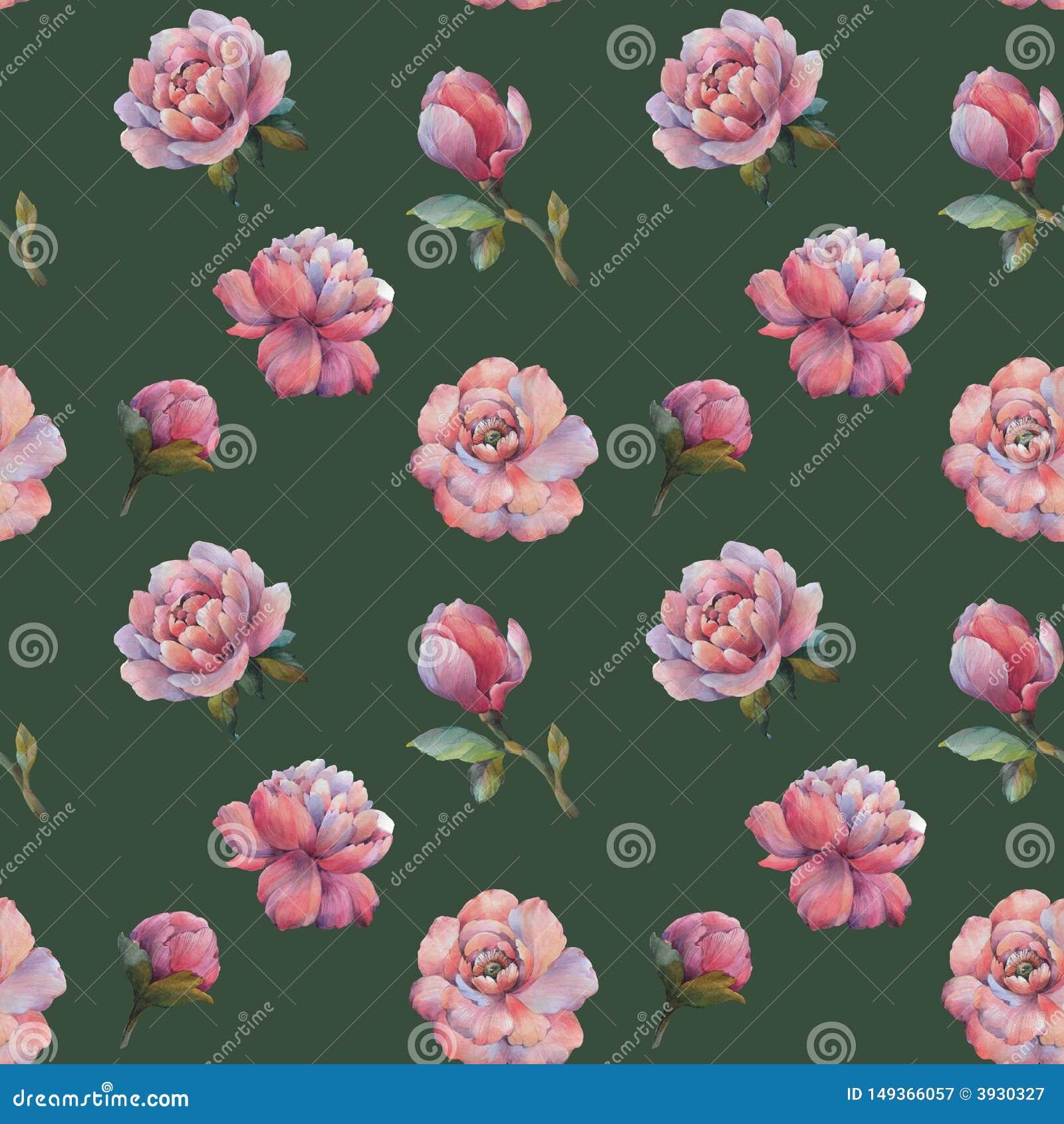Sk?ad kwiaty peonia Bezszwowy akwarela wz?r kwiaty Botaniczny wz?r E