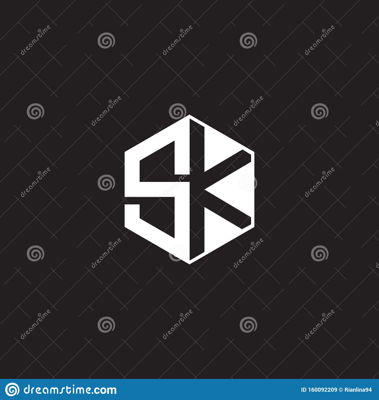 Sk Logo Monogram Hexagon With Black Background Negative Space Style Stock Vector Illustration Of Initials Letter 160092209