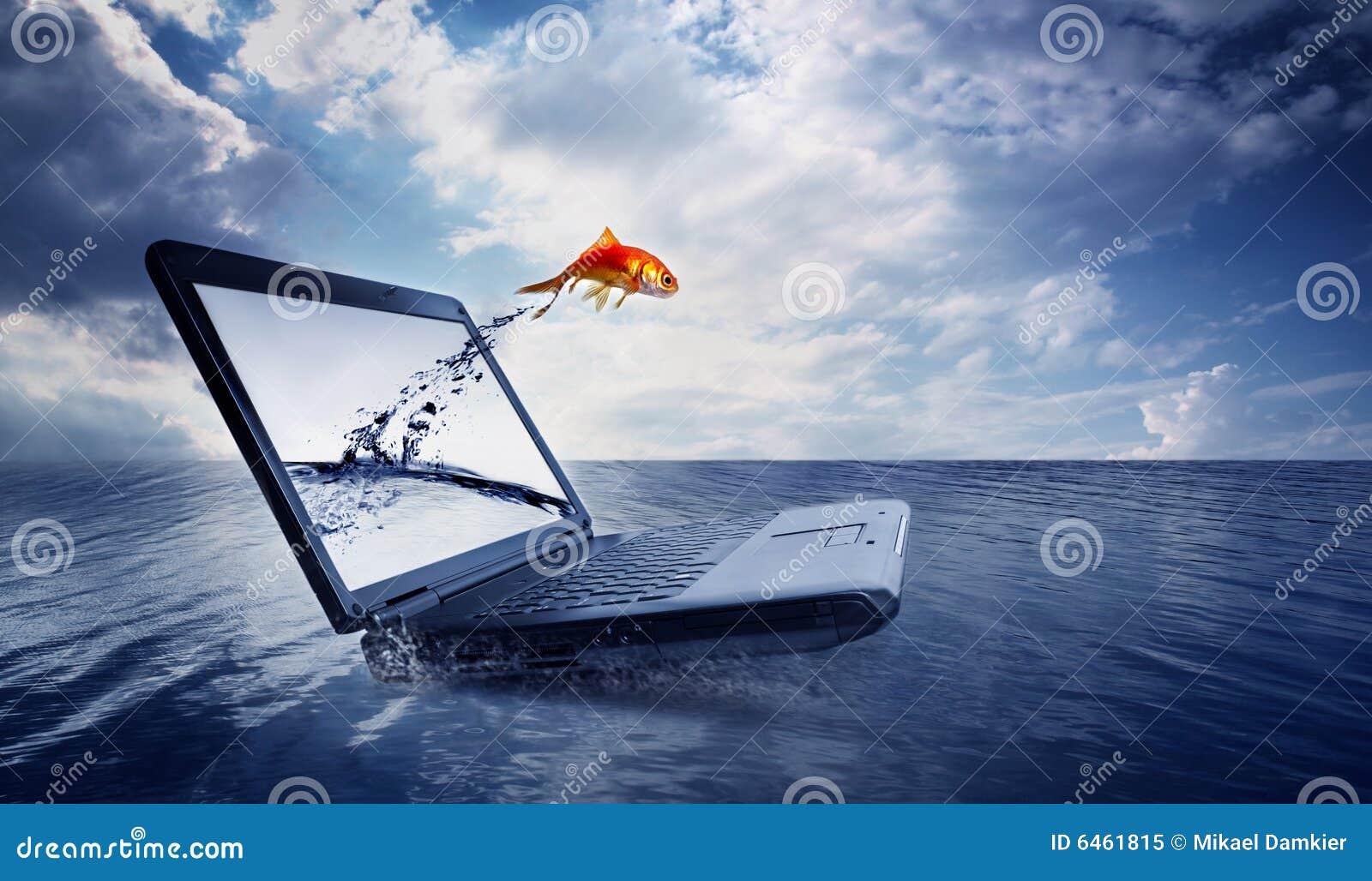 Skacze rybki monitor oceanu.