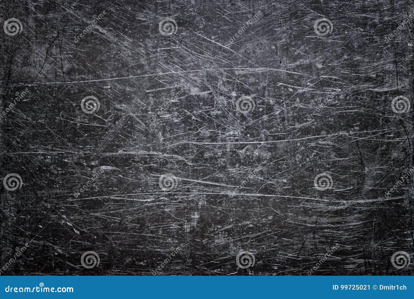 Skadad ståltextur, mörk metallbakgrund med skrapor på t