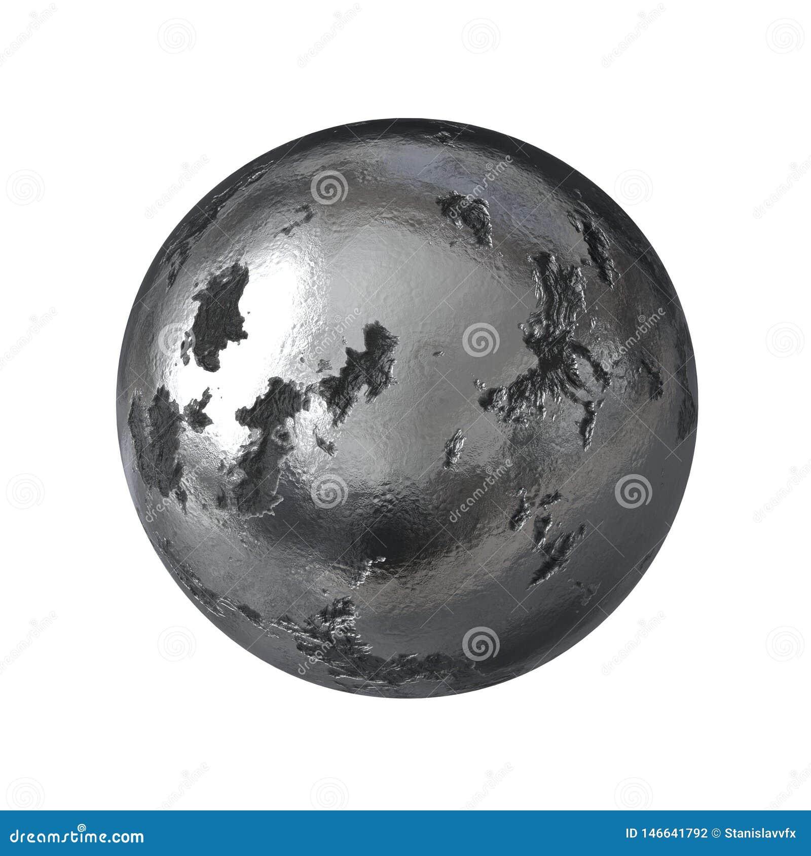 Skadlig metallsfär som isoleras på vit bakgrund