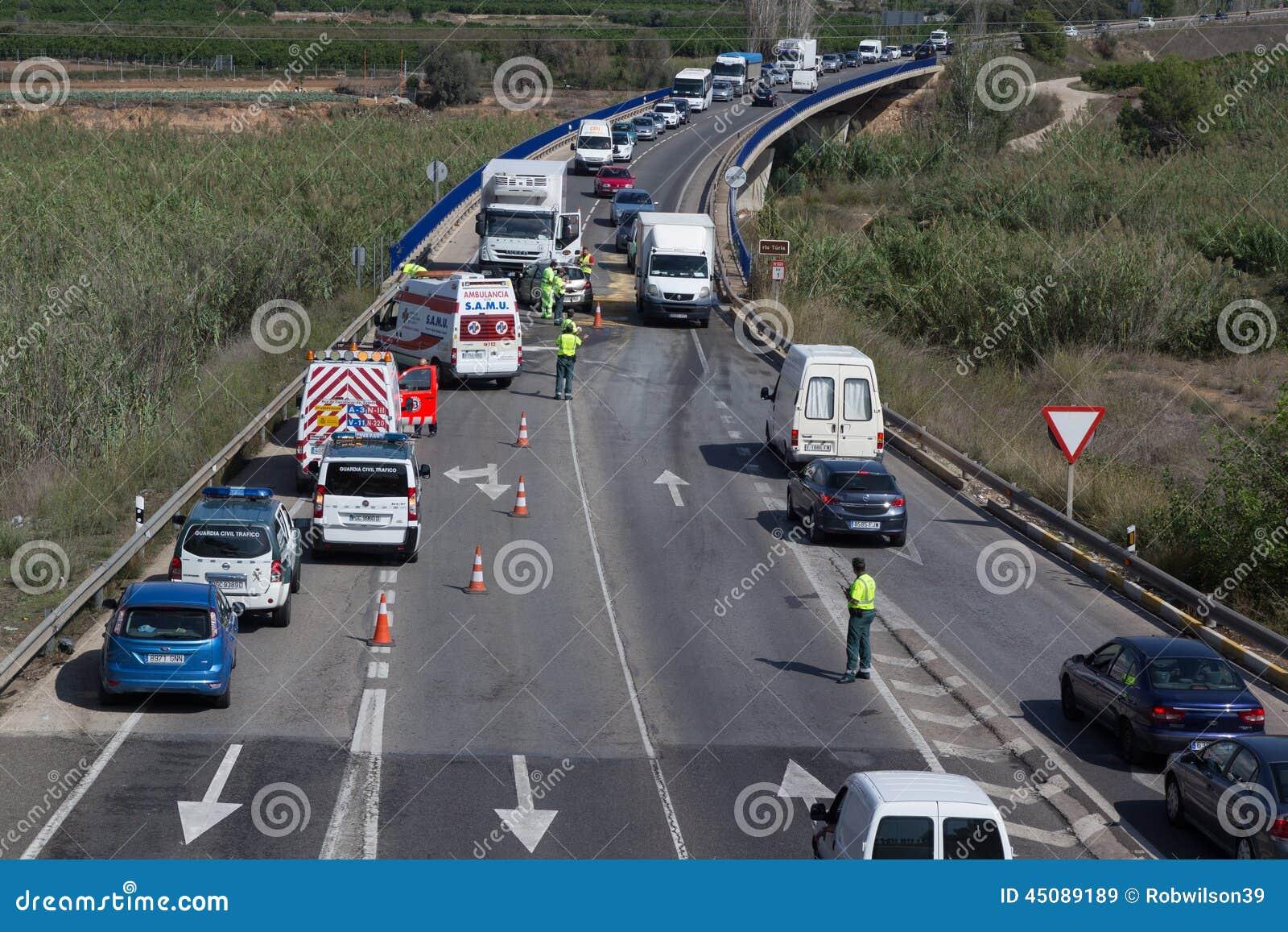 Skadlig trafik för olycksbil krasch