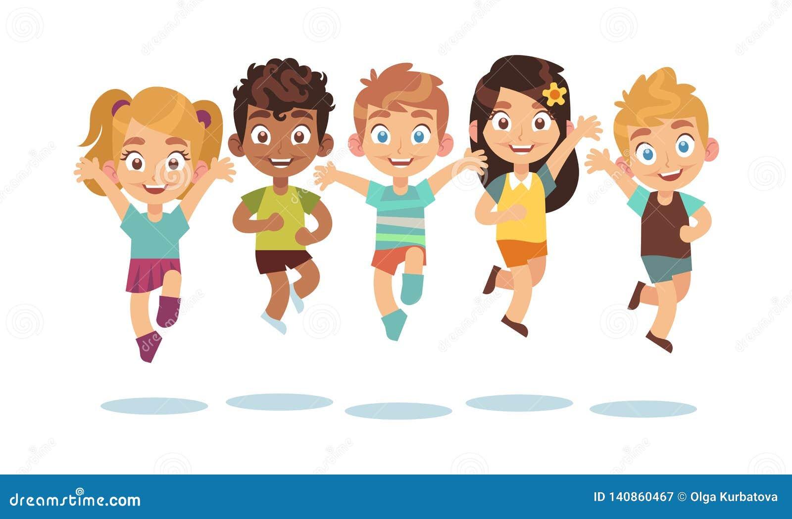 Skakać dzieciaków Kreskówek dzieci bawić się i skoki odizolowywający szczęśliwi aktywni śliczni zdziweni dzieciaka wektoru charak