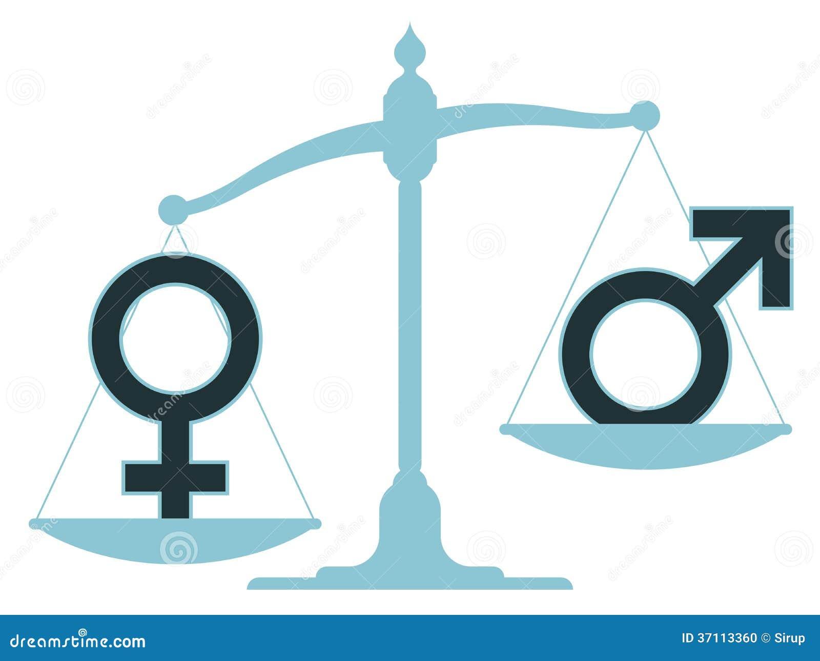 Skala mit den männlichen und weiblichen Ikonen, die Unausgeglichenheit zeigen