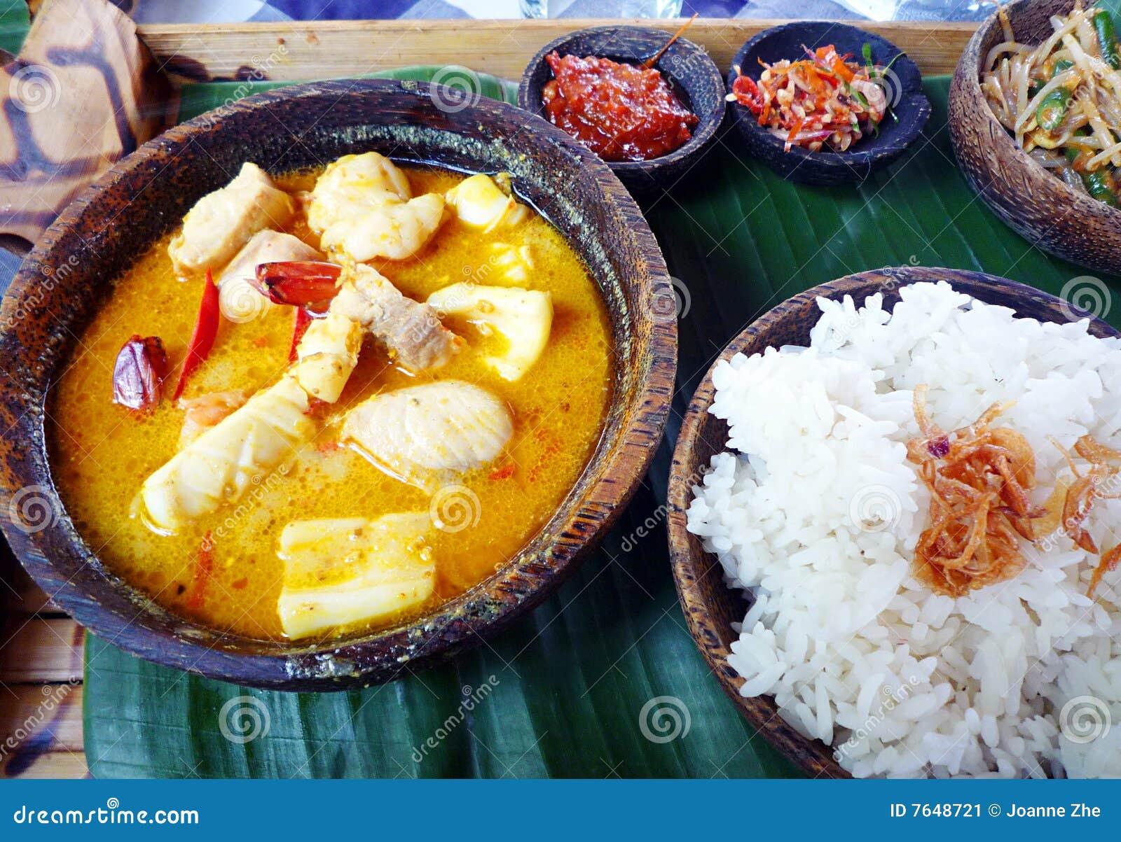 Skaldjur för mat för balinesecurry etnisk