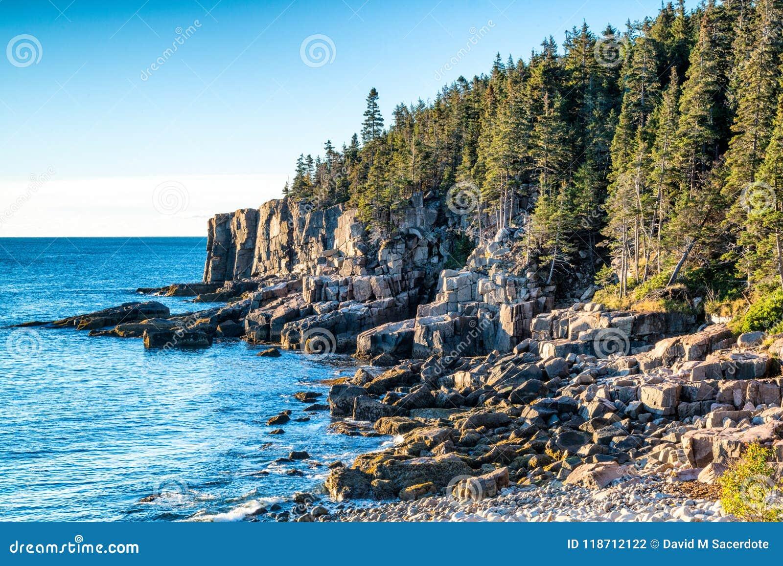 Skalisty wybrzeże Acadia park narodowy