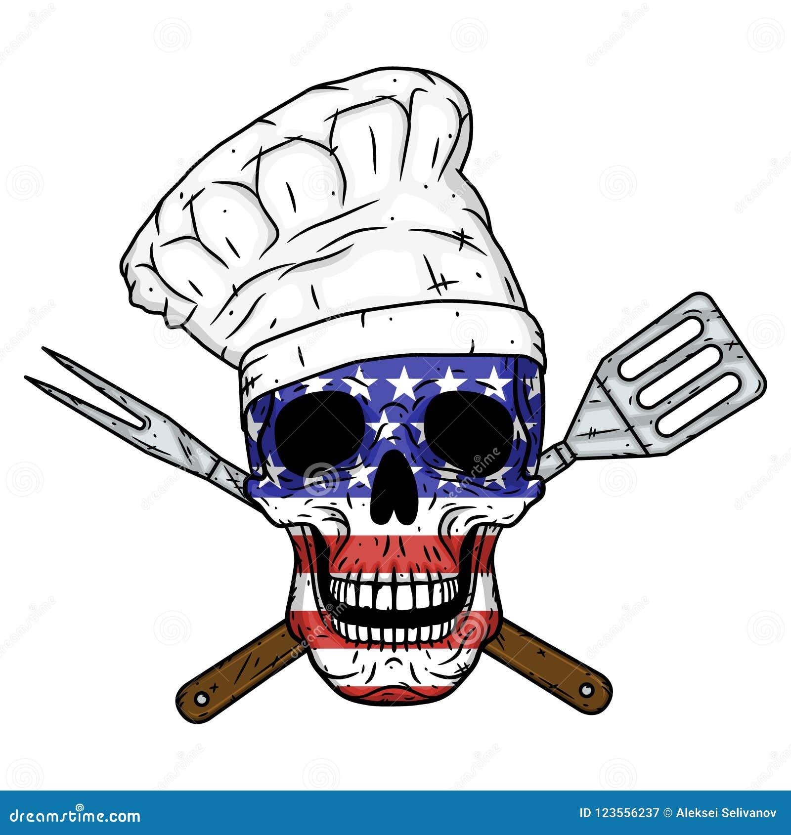 Skalle i kockhatt, korsade grillfesthjälpmedel och amerikanska flaggan Kockskalle