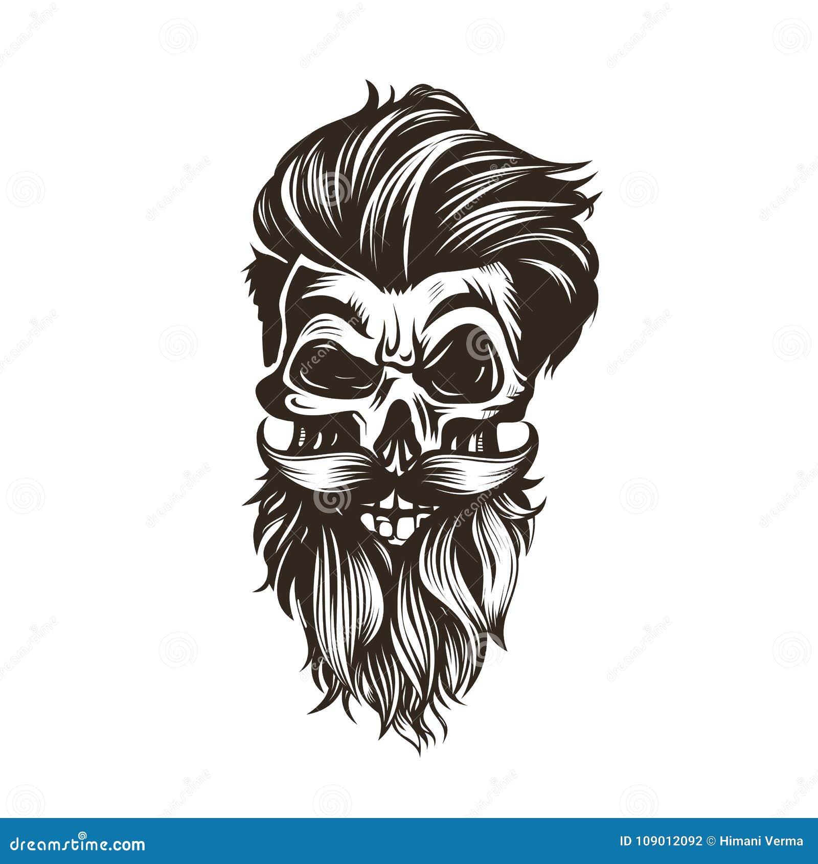Skalle med en frisyr, skägg, mustaschvektorillustration