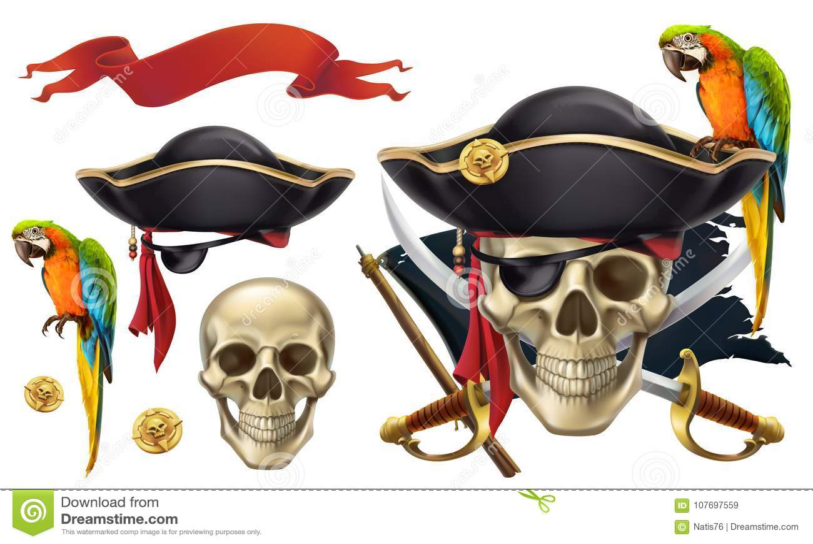 Skalle och papegoja piratkopiera emblemet symboler för pappfärgsymbol ställde in vektorn för etiketter tre