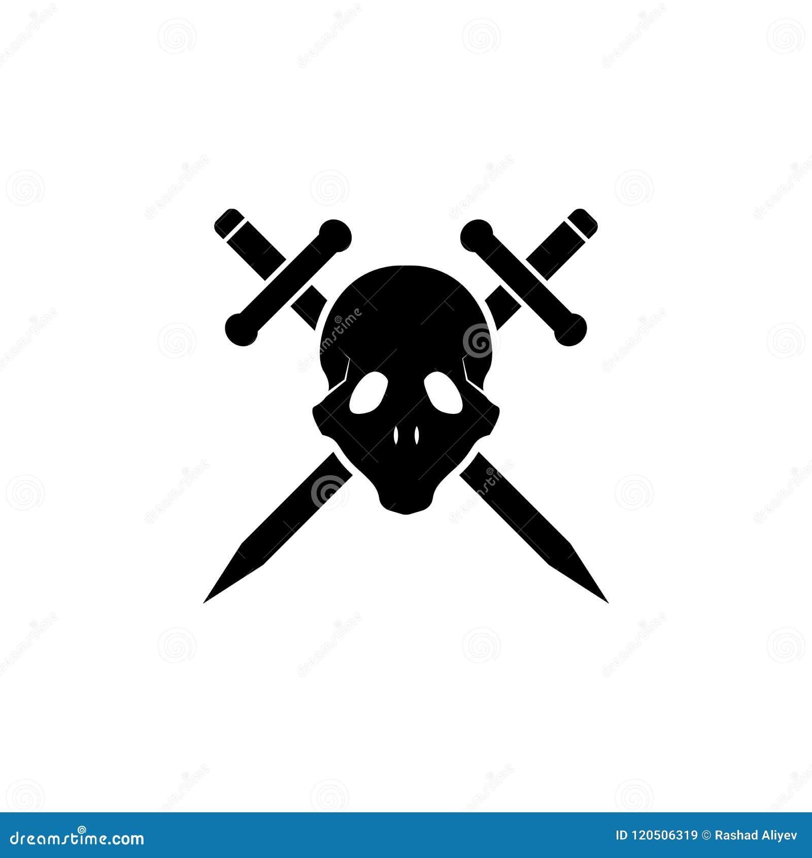 Skalle- och svärdsymbol Beståndsdel av tatueringsymbolen för mobila begrepps- och rengöringsdukapps Skårastilskallen och svärdsym
