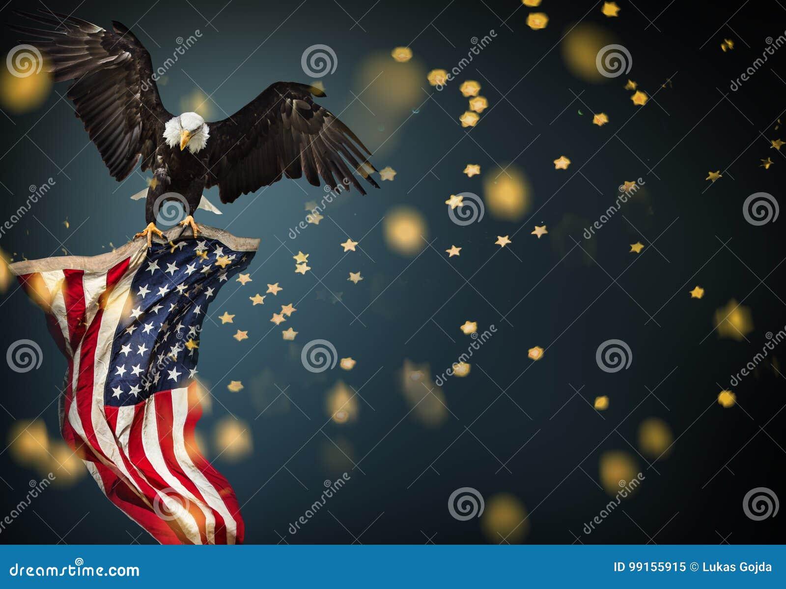 Skalliga Eagle flyg med amerikanska flaggan
