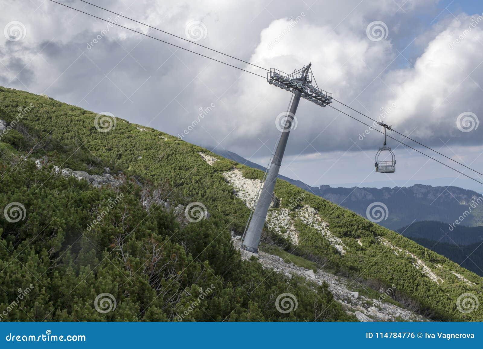 Skalnate pleso,从驻防Skalnate pleso的Tatranska Lomnica村庄的高Tatra山空中览绳