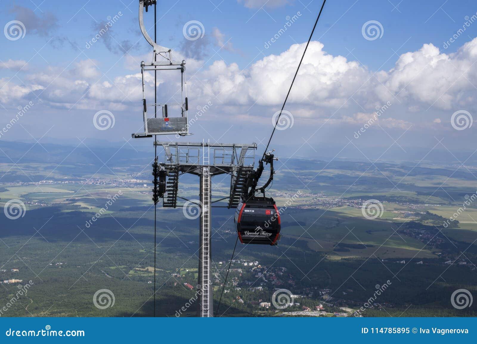 Skalnate pleso,高Tatra山/斯洛伐克- 2017年7月6日:从驻防Skalnate pleso的Tatranska Lomnica村庄的空中览绳