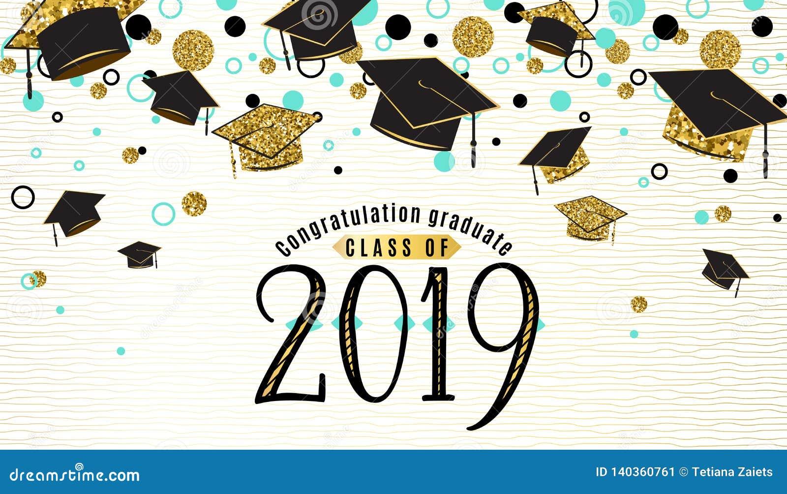 Skalowania tła klasa 2019 z magisterską nakrętką, czerń i złocisty kolor, błyskotliwość kropki na białej złotej linii paskującej
