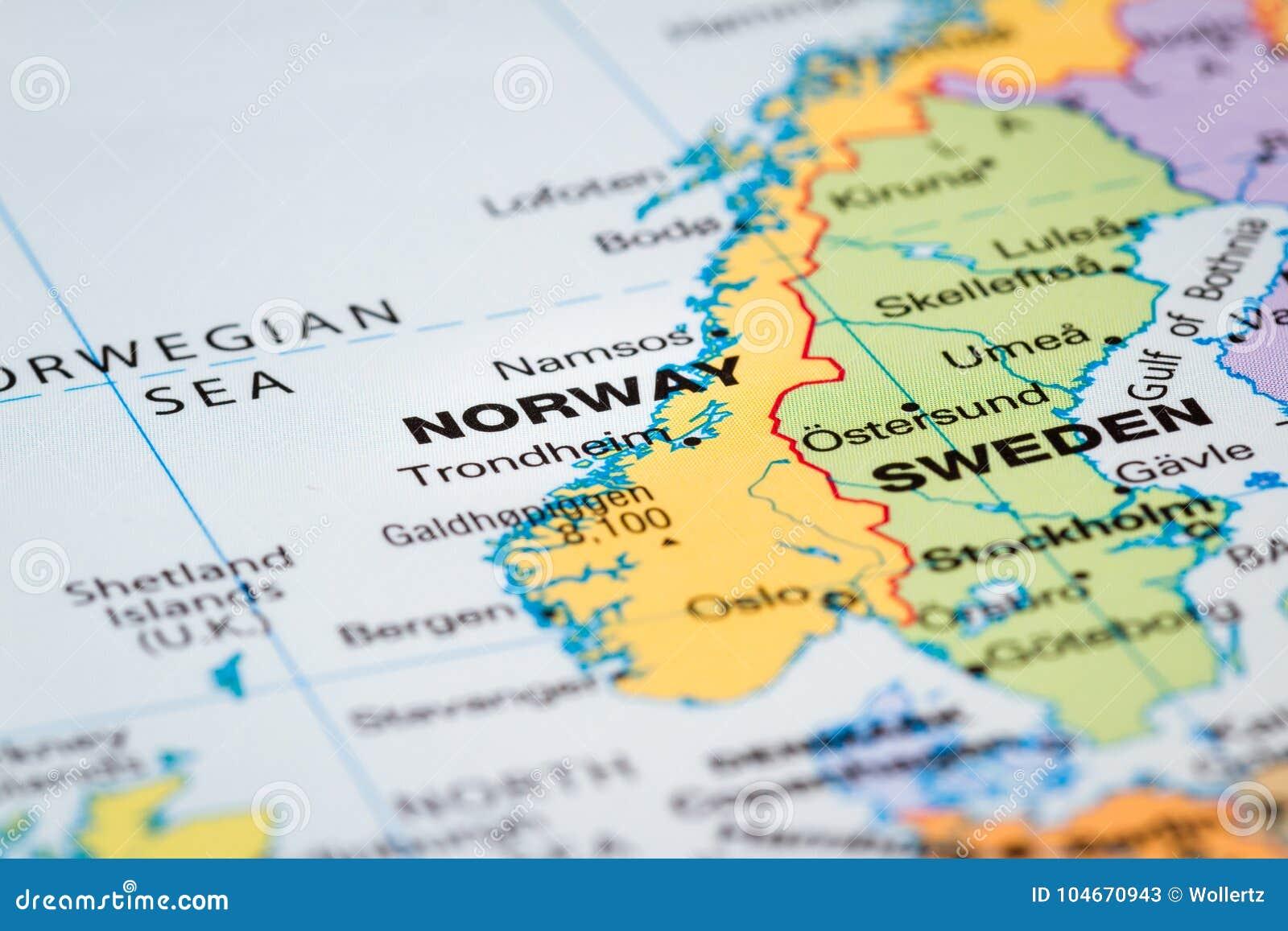 Skandinavien Auf Einer Karte Stockbild Bild Von Sonderkommando