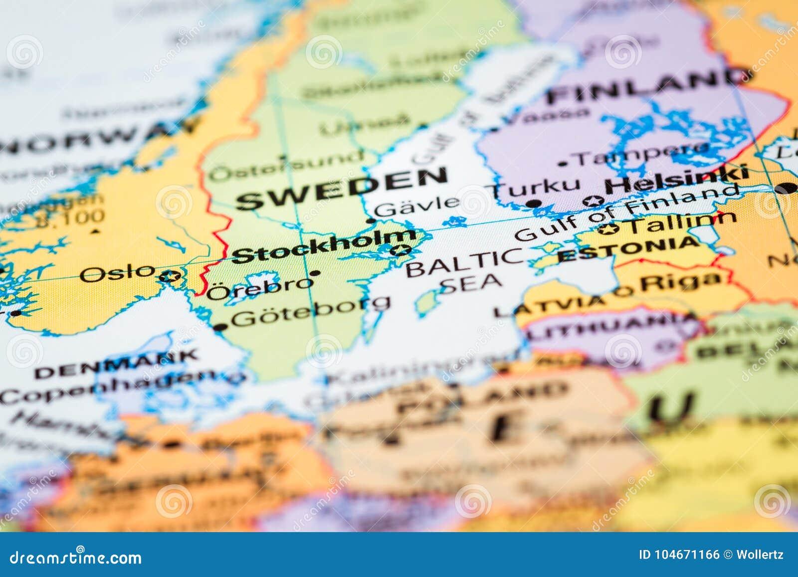 Skandinavien Auf Einer Karte Stockfoto Bild Von Sprache Kontinent