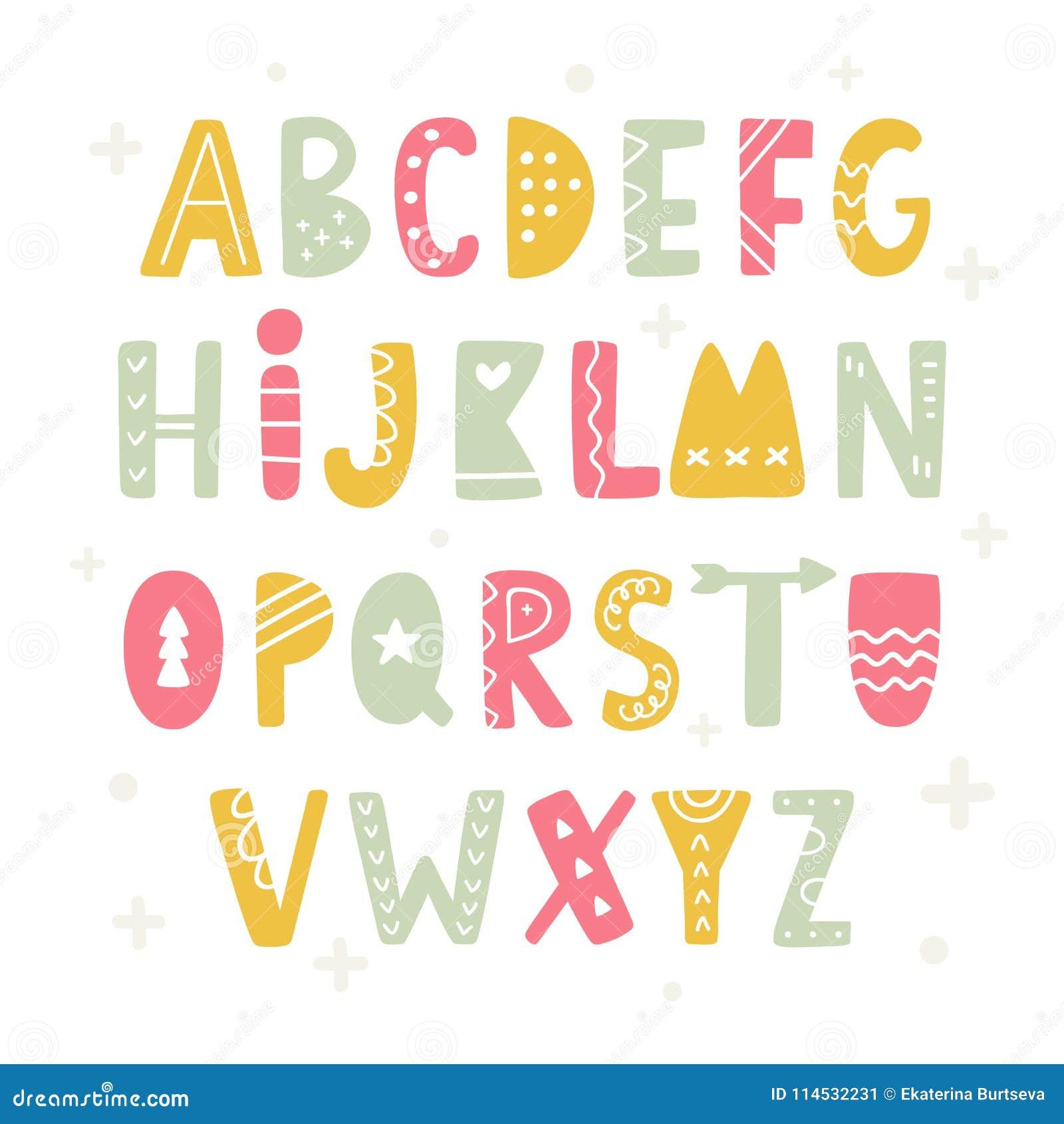 In Skandinavisch Volksalfabet ABC-Hand het Van letters voorzien