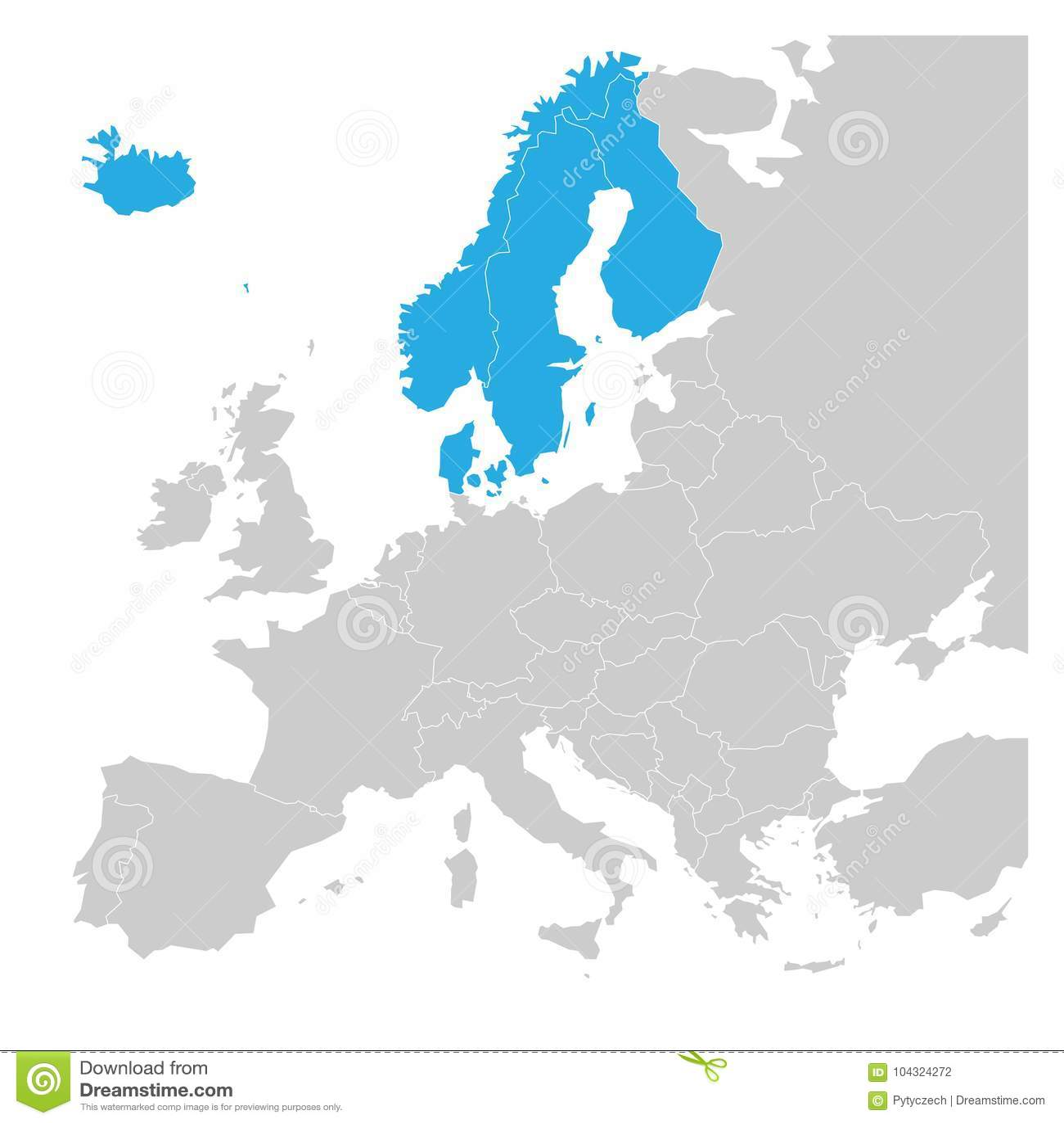 Skandinavische Die Staten Denemarken Het Blauw Van Noorwegen Van