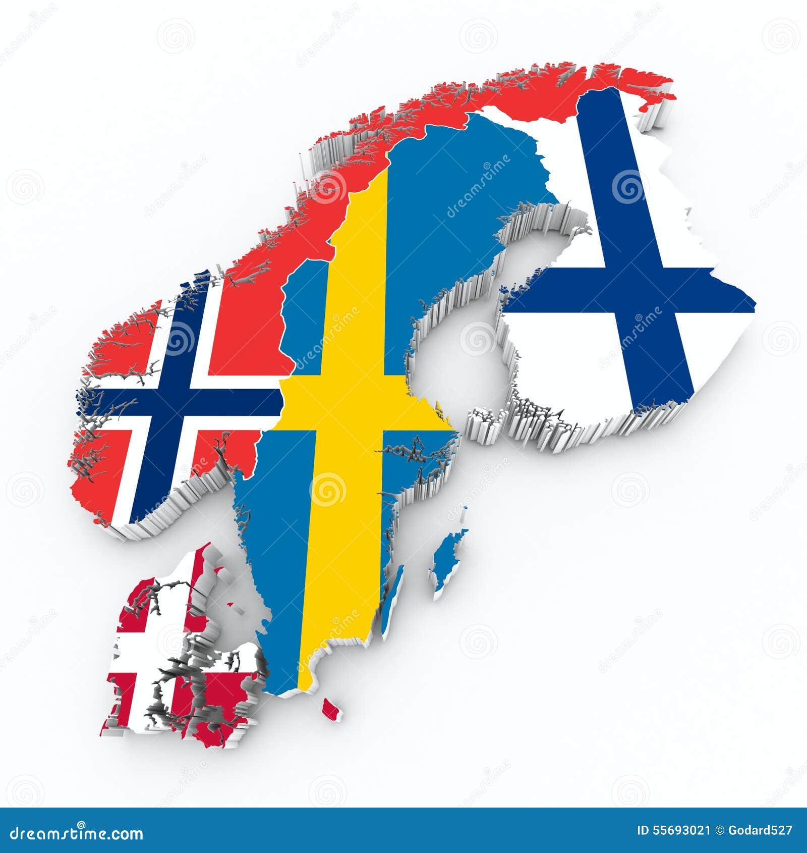 skandinavische flaggen auf karte 3d stock abbildung bild. Black Bedroom Furniture Sets. Home Design Ideas