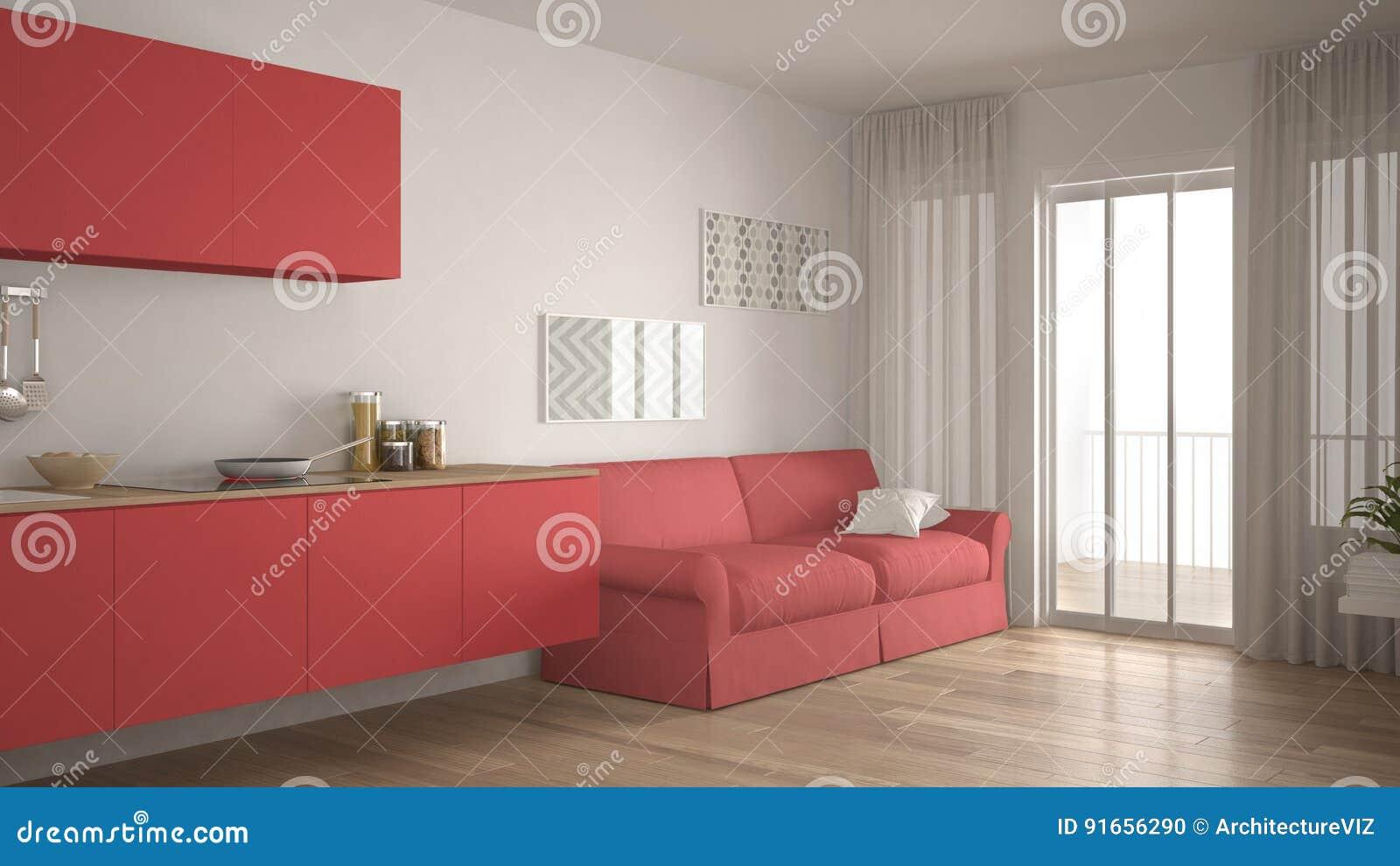 skandinavische küche mit sofa, hölzernem parkettboden, weiß und