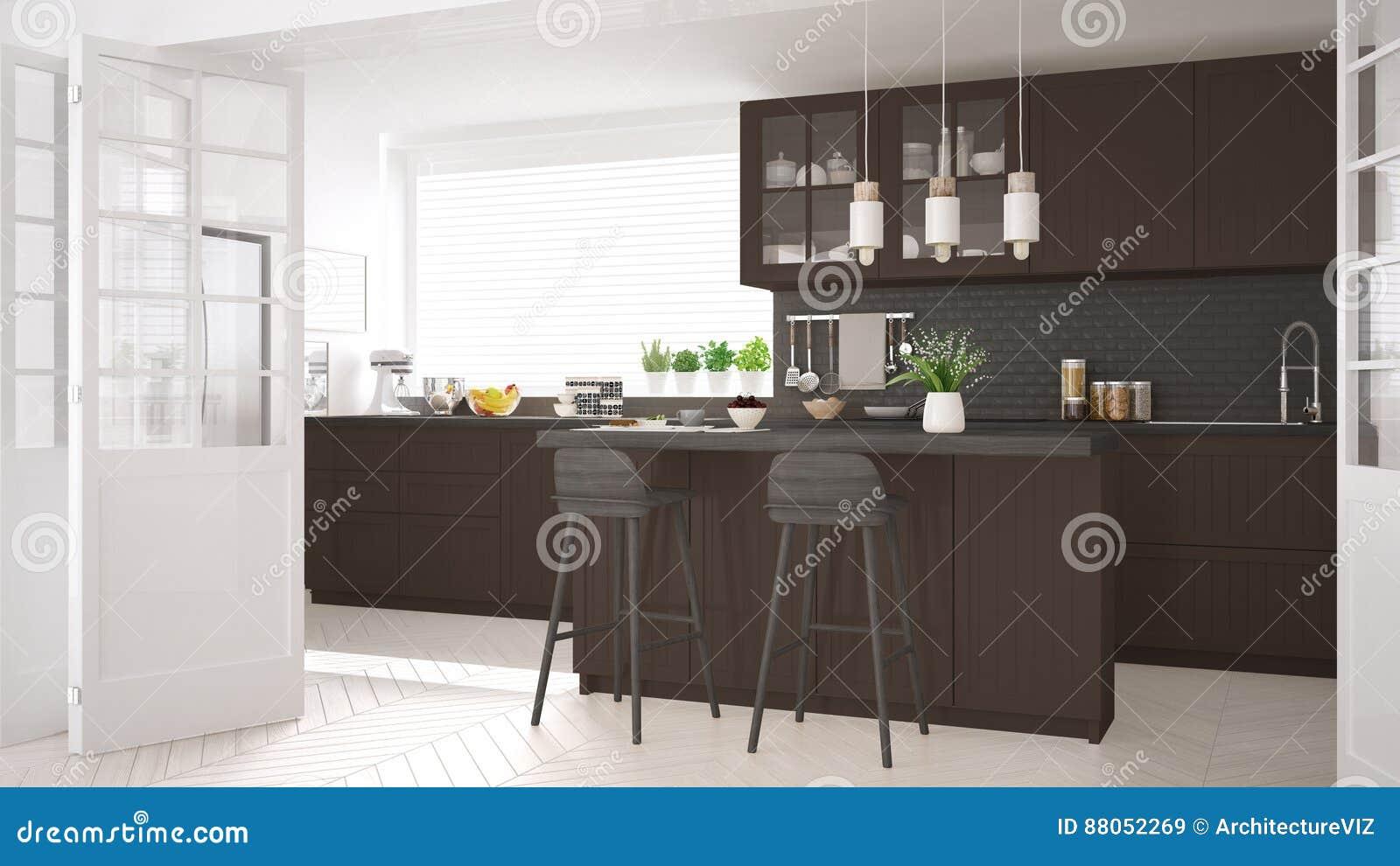 Keuken Interieur Scandinavisch : Skandinavische klassieke keuken met houten en bruine details mini