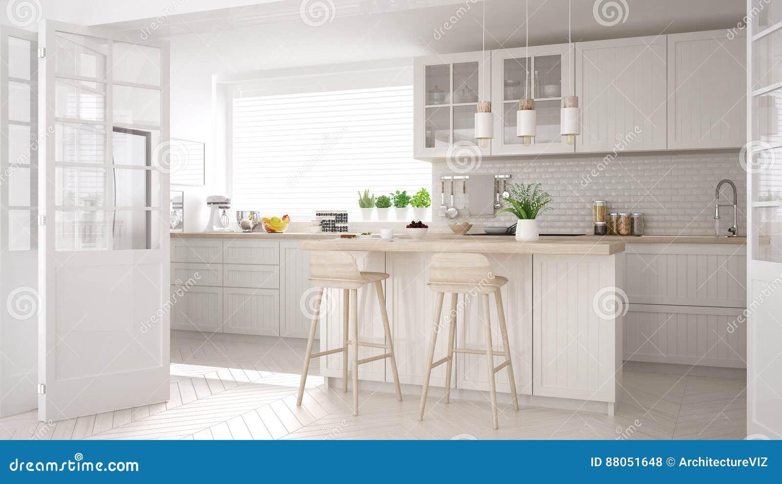 Keuken Interieur Scandinavisch : Skandinavische klassieke keuken met houten en witte details mini