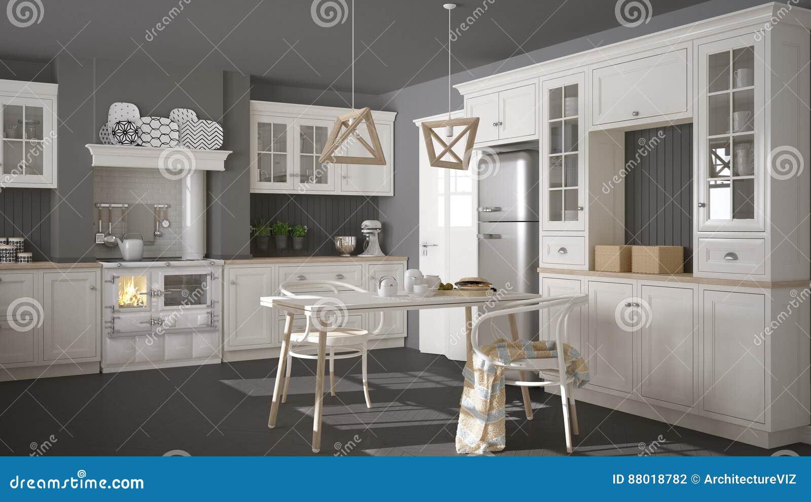 Keuken Interieur Scandinavisch : Skandinavische klassieke witte keuken met houten details minimali