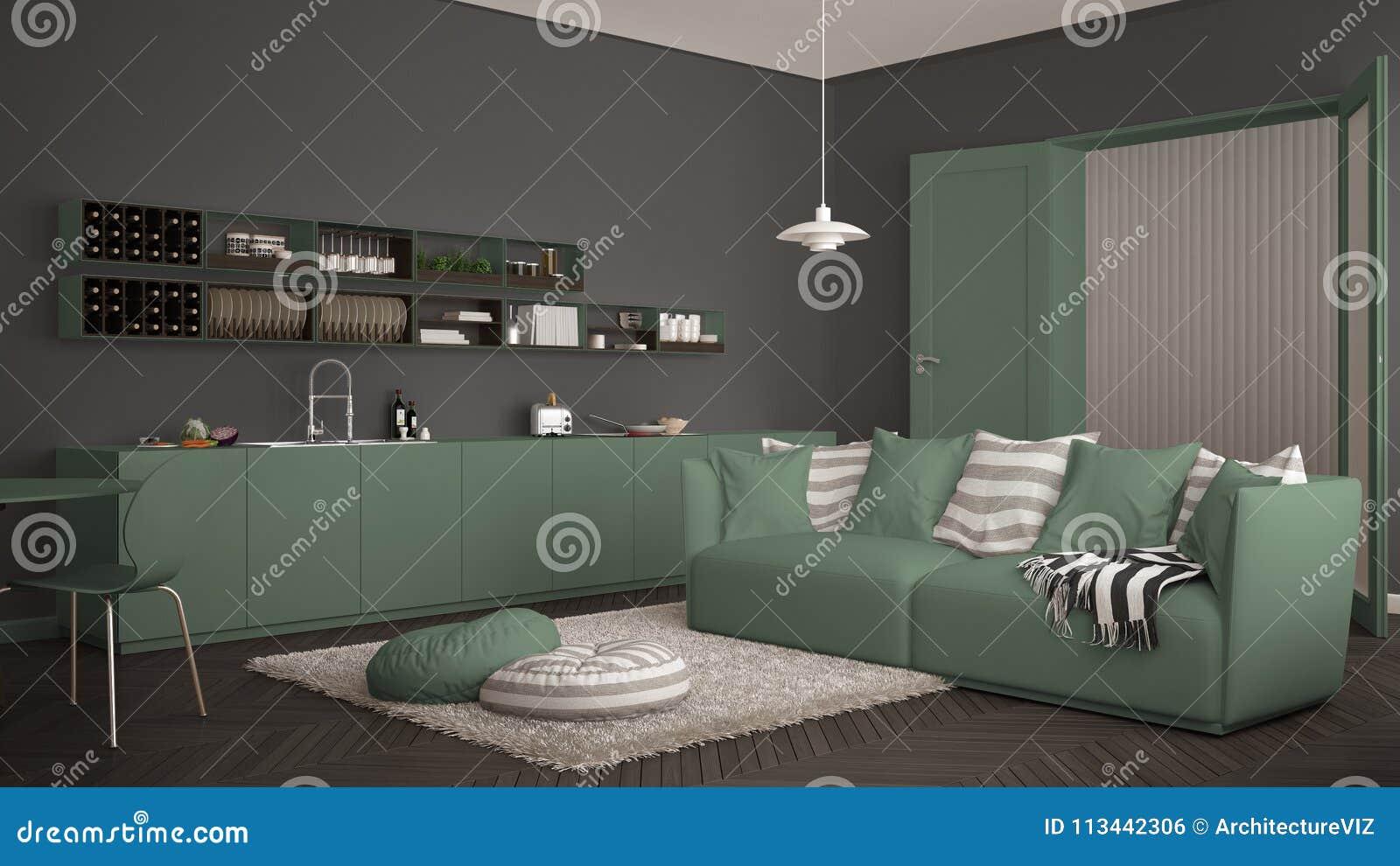 Design Eettafel Bank.Skandinavische Moderne Woonkamer Met Keuken Eettafel Bank En