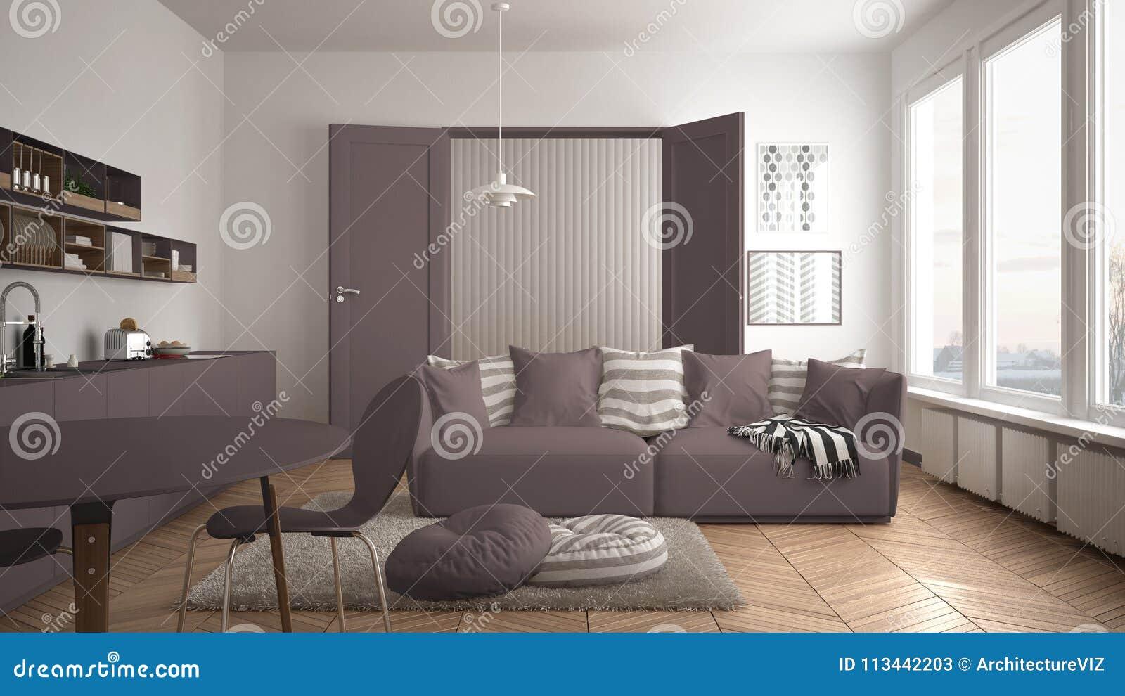 Skandinavische moderne woonkamer met keuken eettafel bank en deken