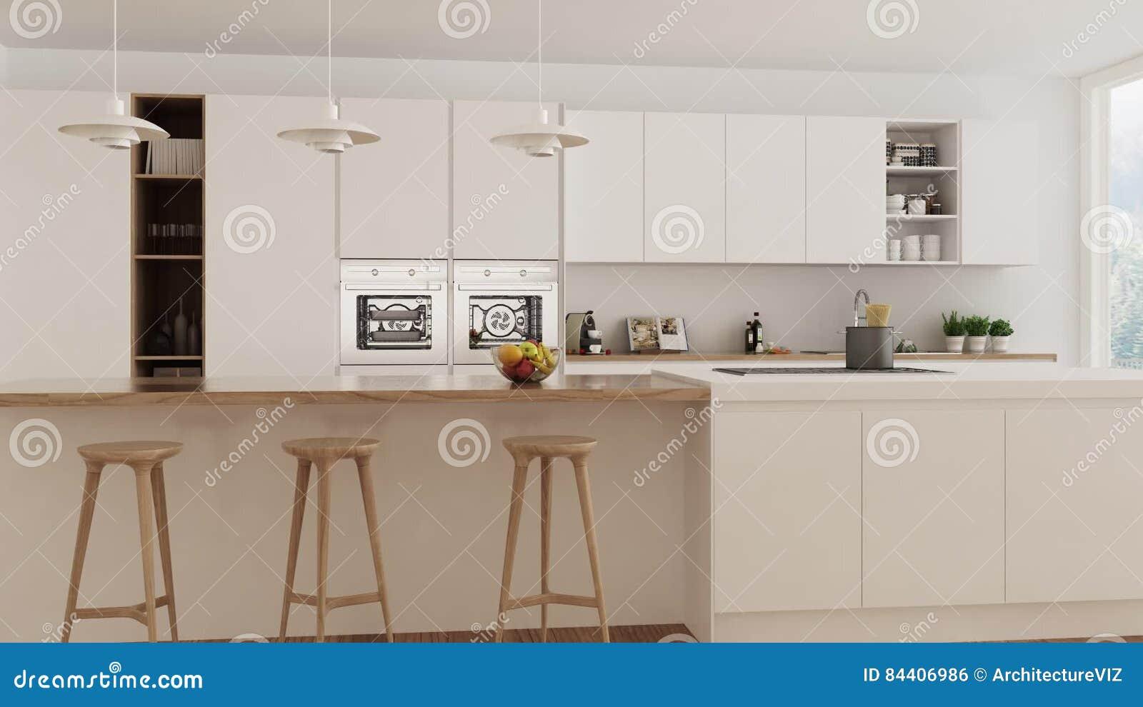 Keuken Interieur Scandinavisch : Skandinavische witte keuken binnenlandse gang door regelmatige