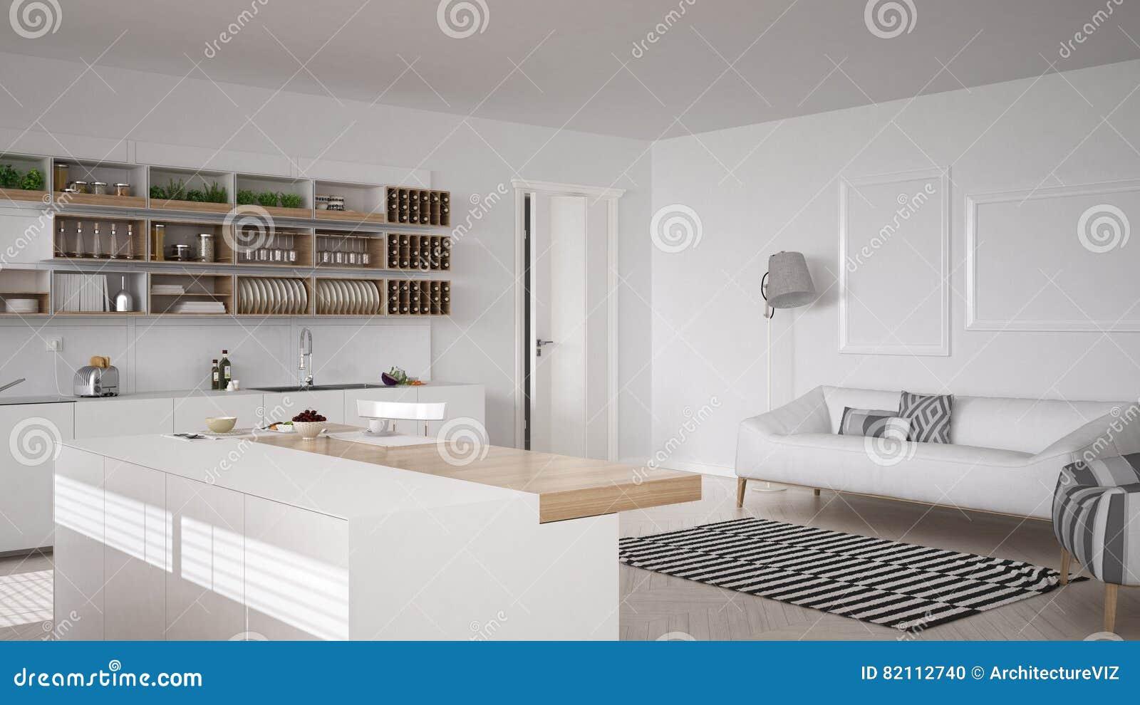 Keuken Interieur Scandinavisch : Skandinavische witte keuken minimalistic binnenlands ontwerp