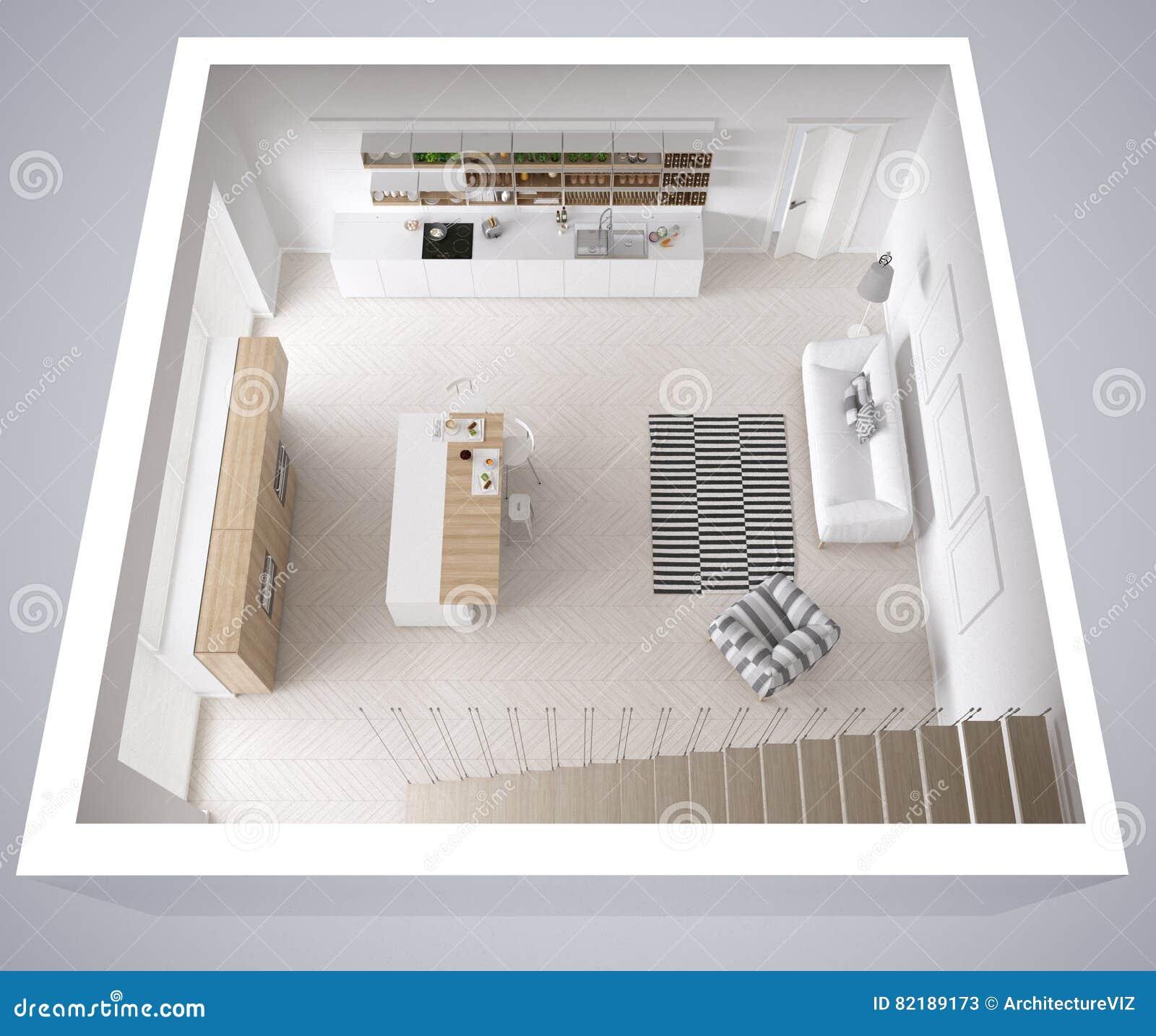 Skandinavische witte keuken, minimalistic binnenlands ontwerp, kruis