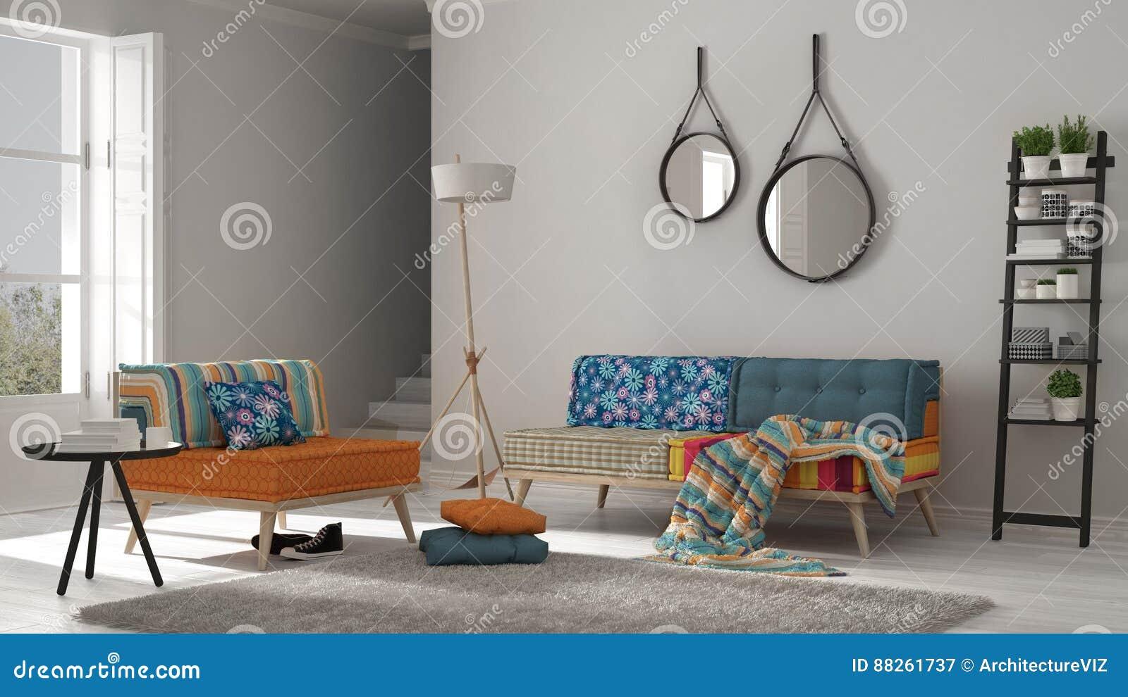 Kleurrijke Witte Woonkamer : Skandinavische woonkamer met kleurrijke laag leunstoel en zacht