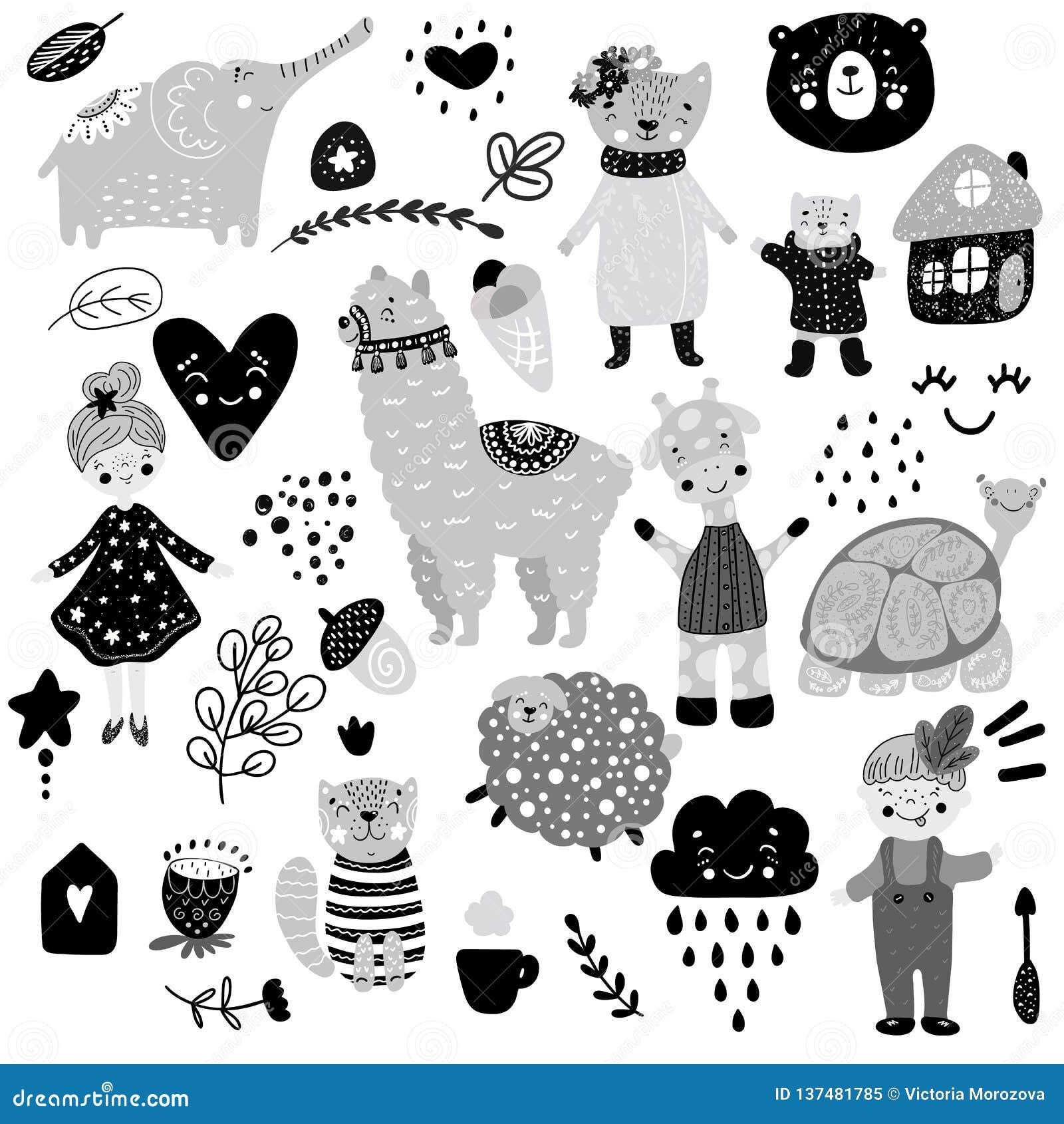 Skandinavisches Kindergekritzel-Elementmuster stellte Farbden affen wilder Tierhandgezogener Bär lamma Katze, Mädchen, Schildkröt