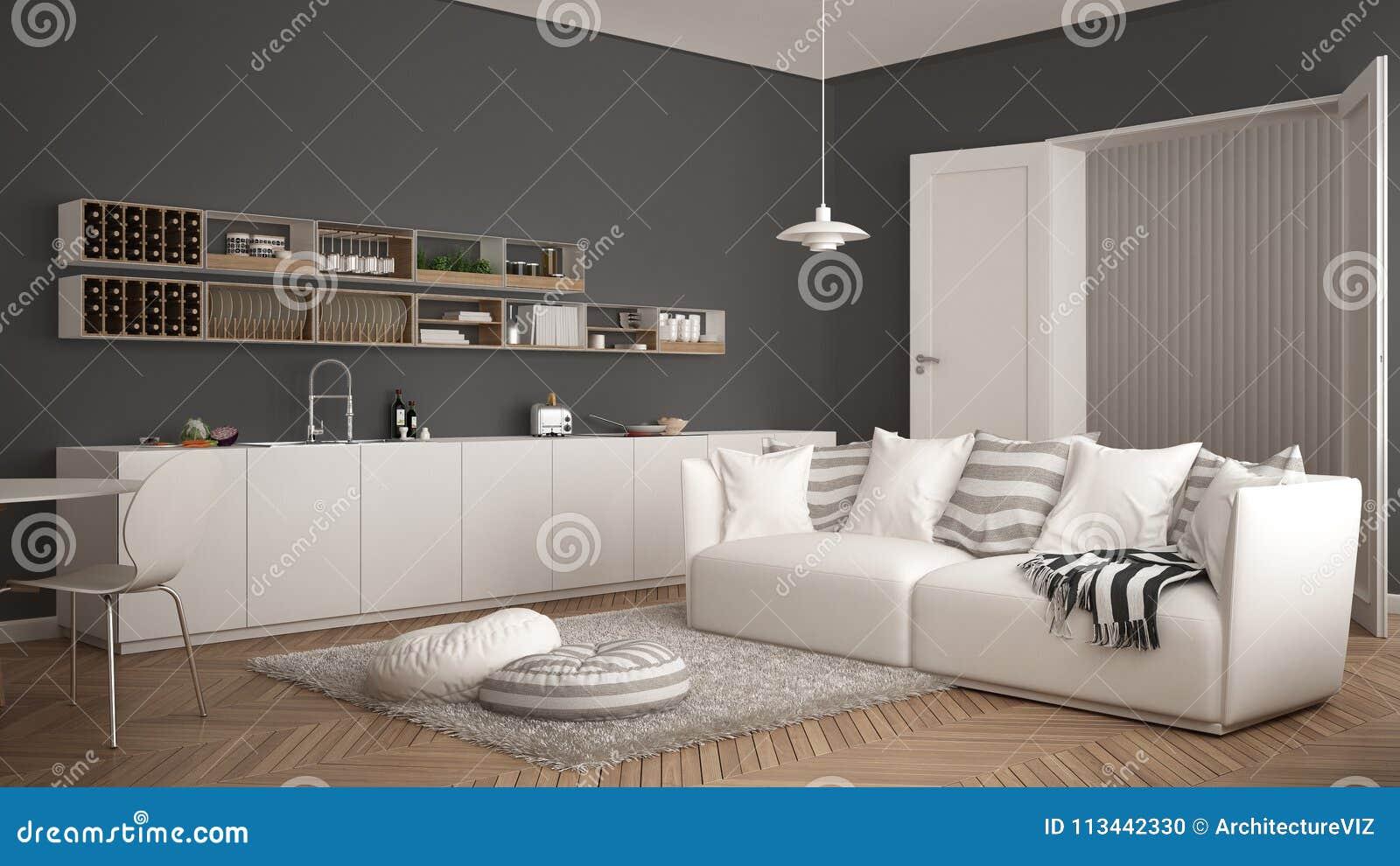 Skandinavisches Modernes Wohnzimmer Mit Küche, Speisetisch, Sofa Und ...