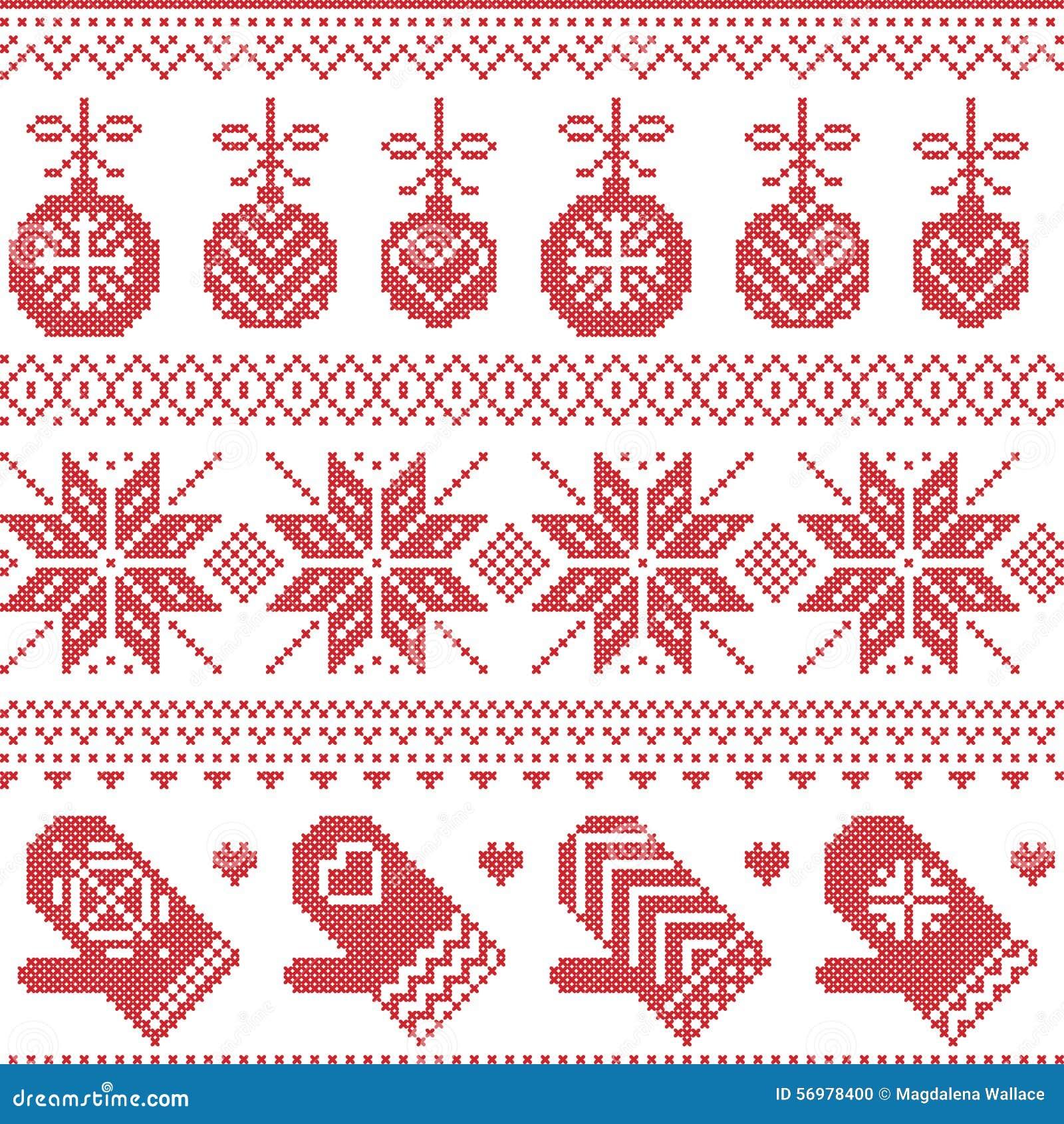 Skandinavisches Nordisches Nahtloses Weihnachtsmuster Mit ...