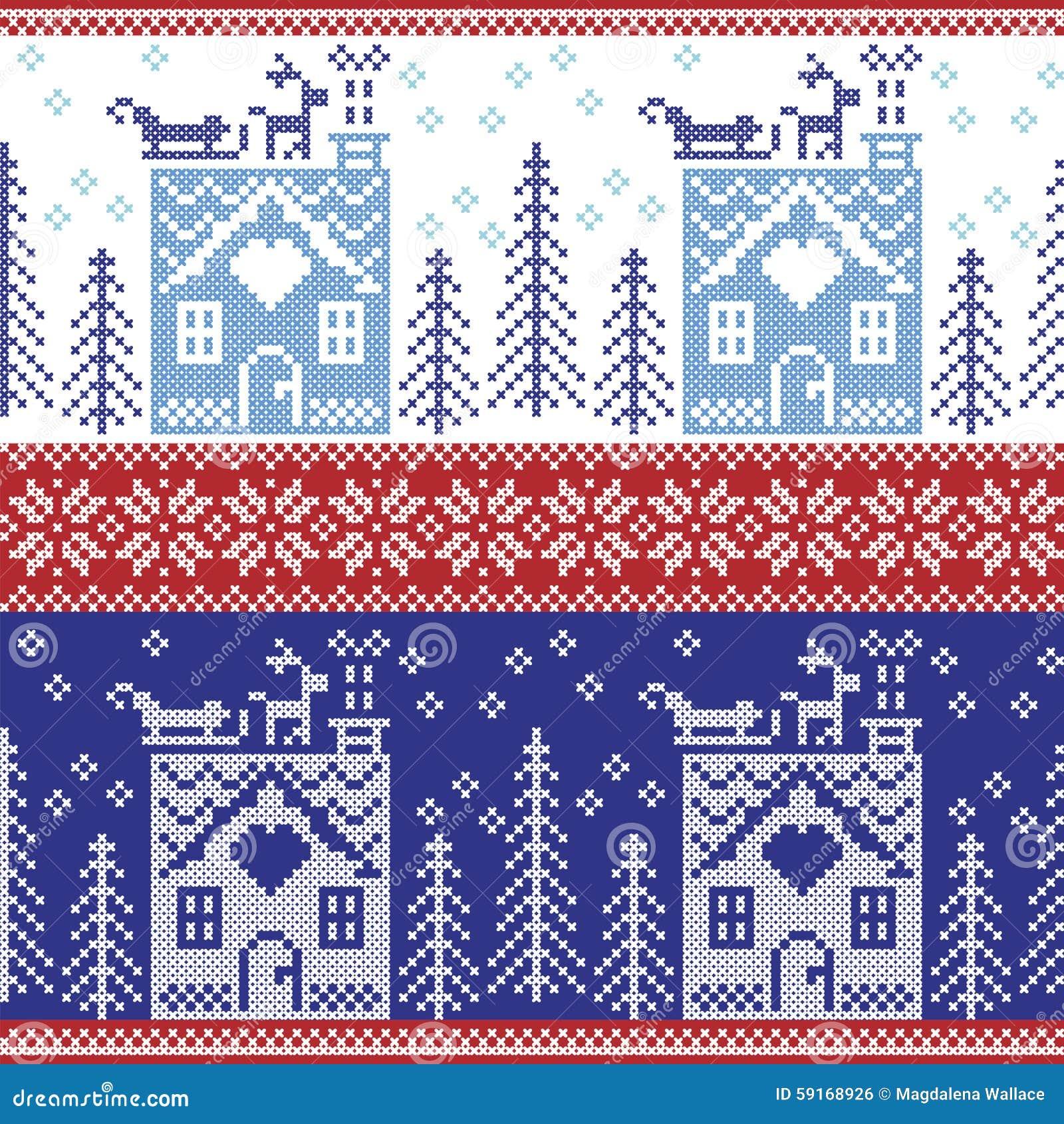 Skandinavisches Nordisches Weihnachtsnahtloses Muster Mit ...