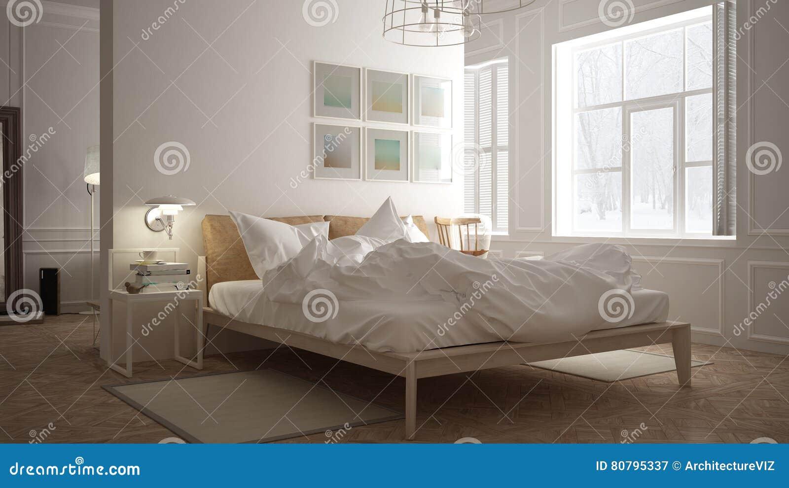 skandinavisches schlafzimmer, weißes minimalistic design, Schlafzimmer entwurf