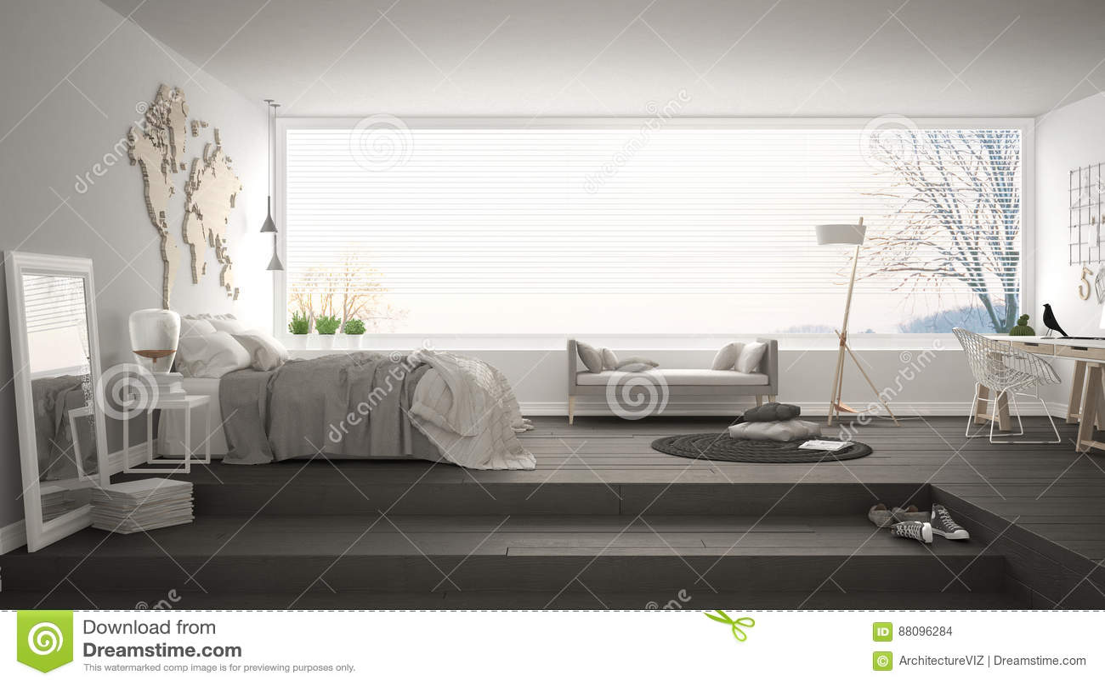Skandinavisches Unbedeutendes Schlafzimmer Mit Büro, Minimalistic ...
