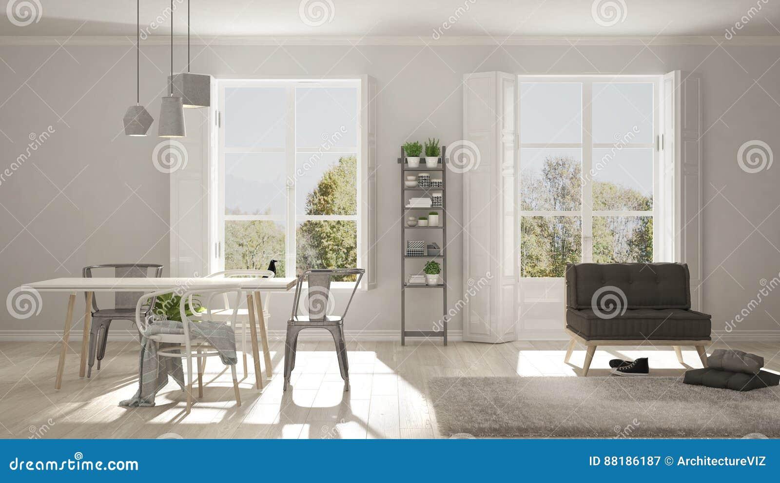Skandinavisches Wohnzimmer   Skandinavisches Wohnzimmer Mit Grossen Fenstern Gartenpanorama Im Ba