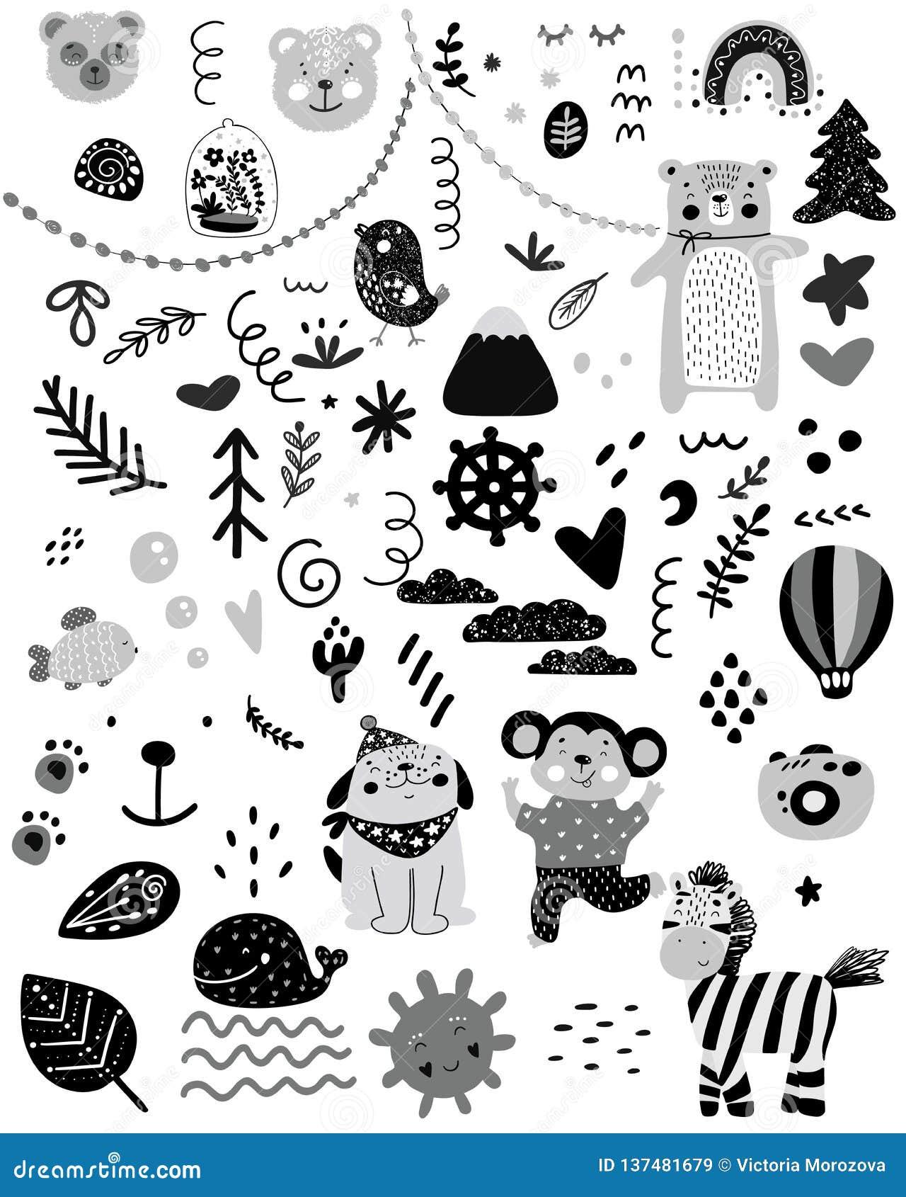 Skandinaviska ungeklotterbeståndsdelar mönstrar den svartvita monokromma uppsättningen, utdragna djur björnen, katten, apan, hund