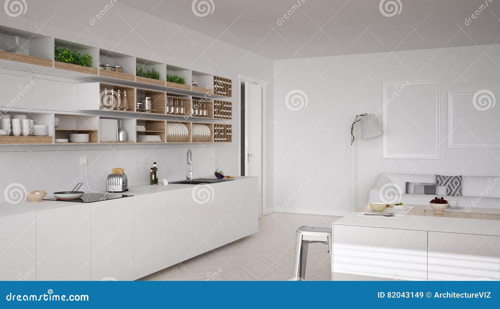 Skandinaviskt vitt kök, minimalistic design stock illustrationer ...