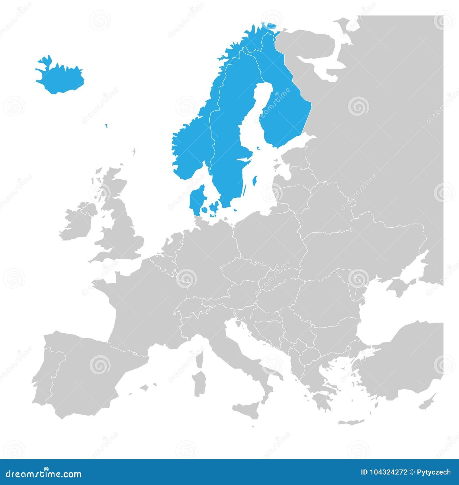 Skandynaw twierdzi Dani, Norwegia, Finlandia, Szwecja i Iceland błękit podkreślającego w politycznej mapie Europa, wektor