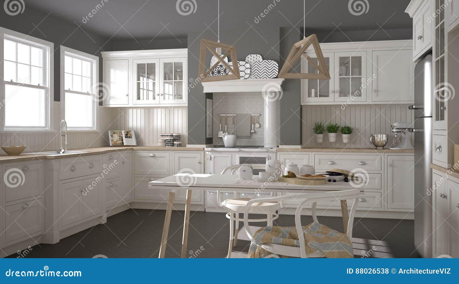 Skandynawska Klasyczna Biala Kuchnia Z Drewnianymi Szczegolami