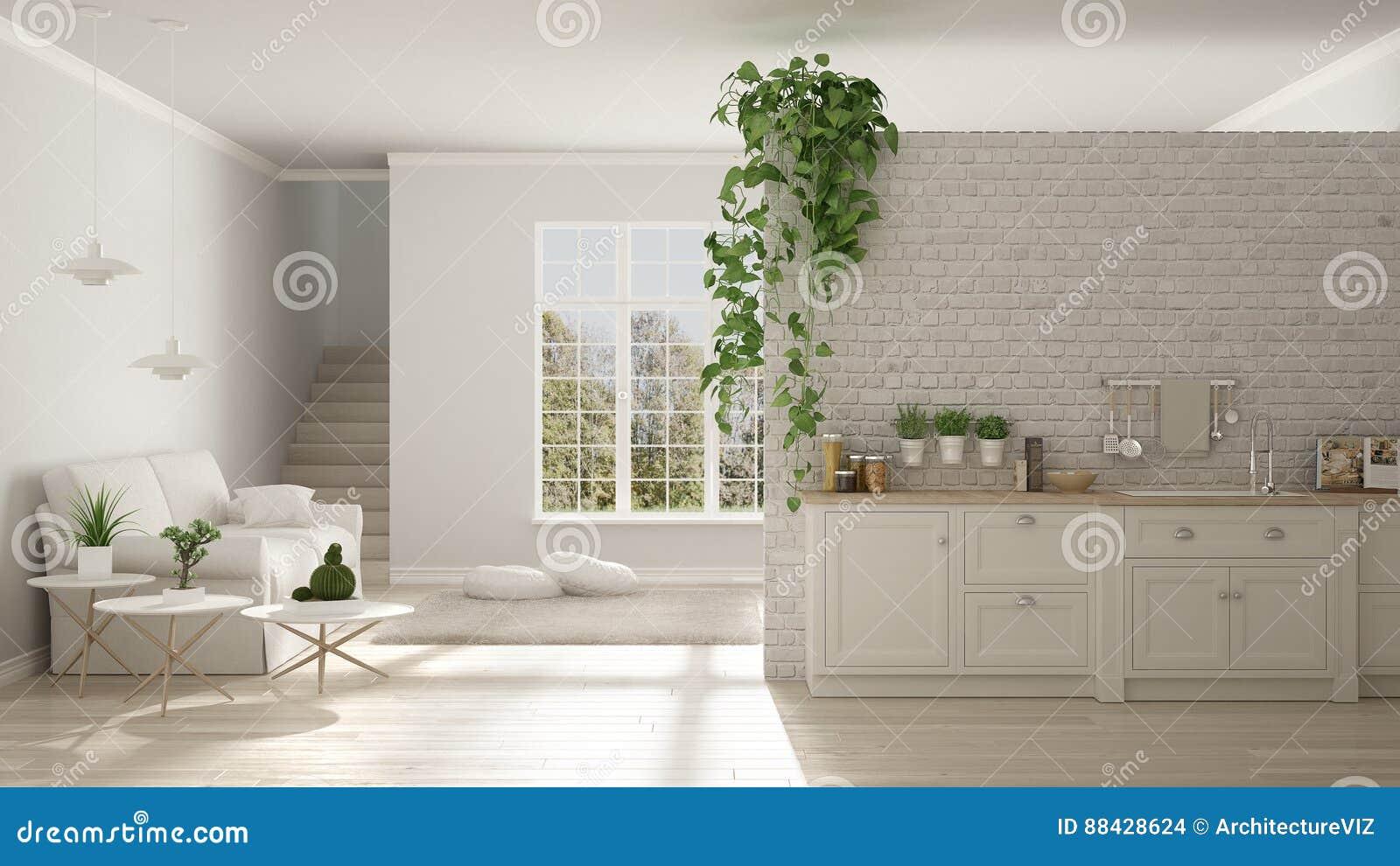 Skandynawski biały minimalistyczny utrzymanie z kuchnią, otwarta przestrzeń, o