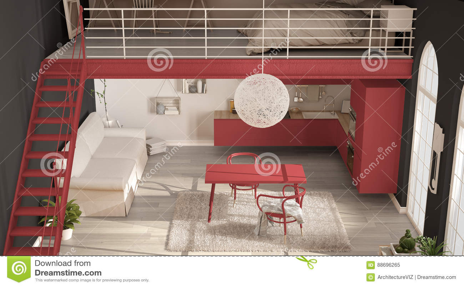 Skandynawski Minimalistyczny Loft Jednoizbowy Mieszkanie Z